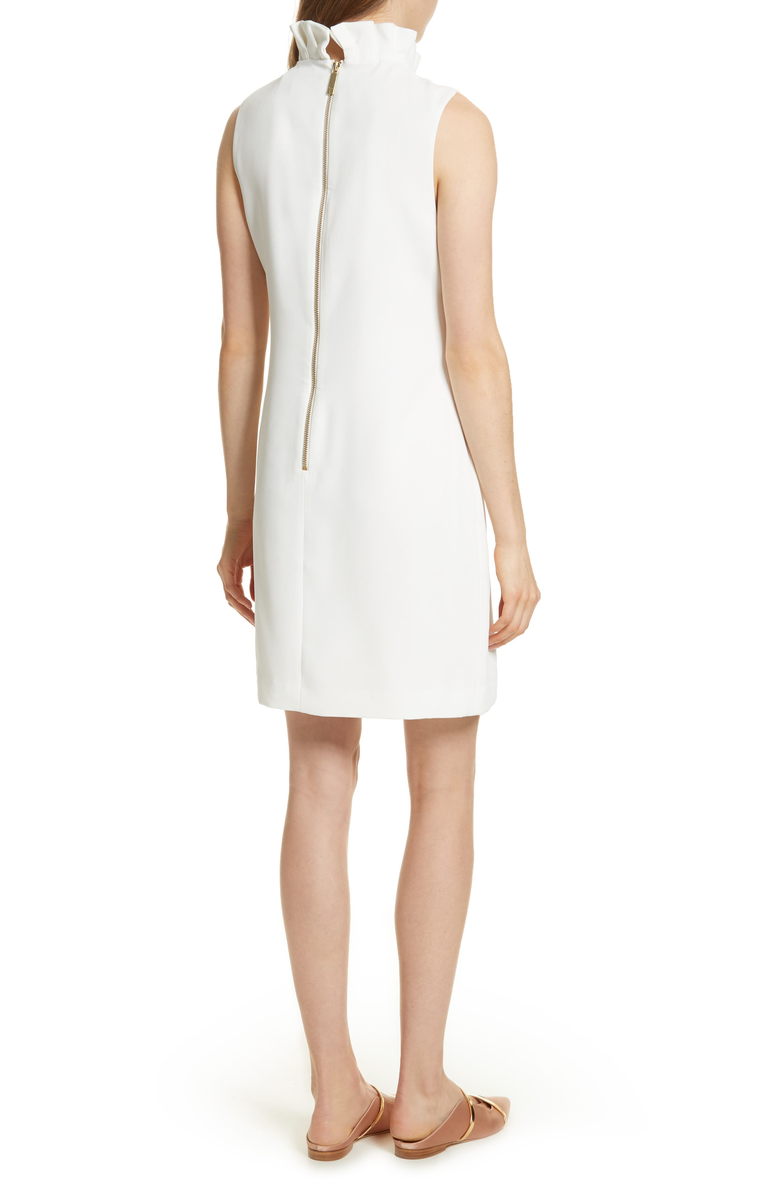 Pleat Ruffle Shift Dress,                             Alternate thumbnail 2, color,                             White