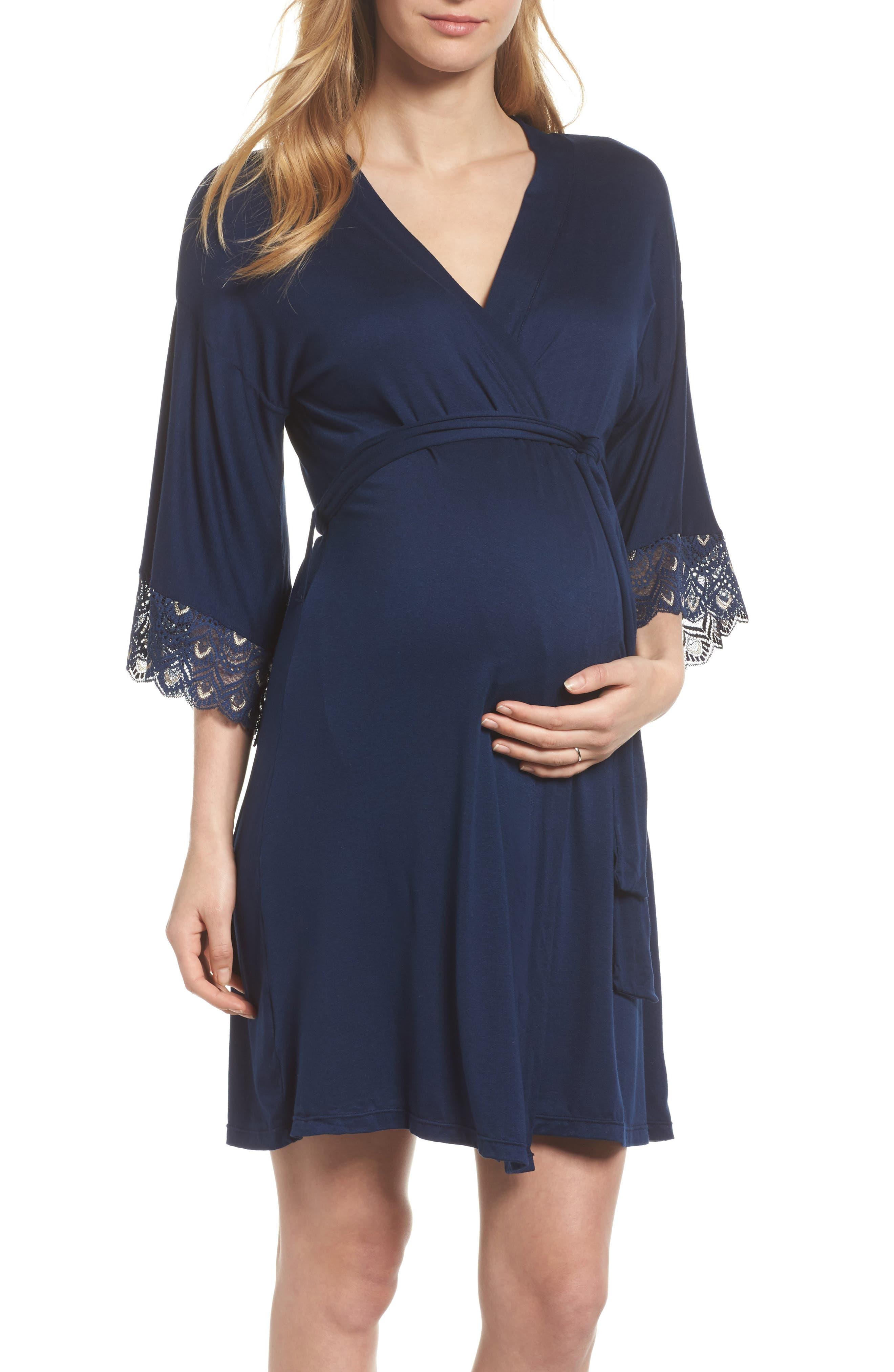 'Tallulah' Maternity Jersey Robe,                         Main,                         color, Navy