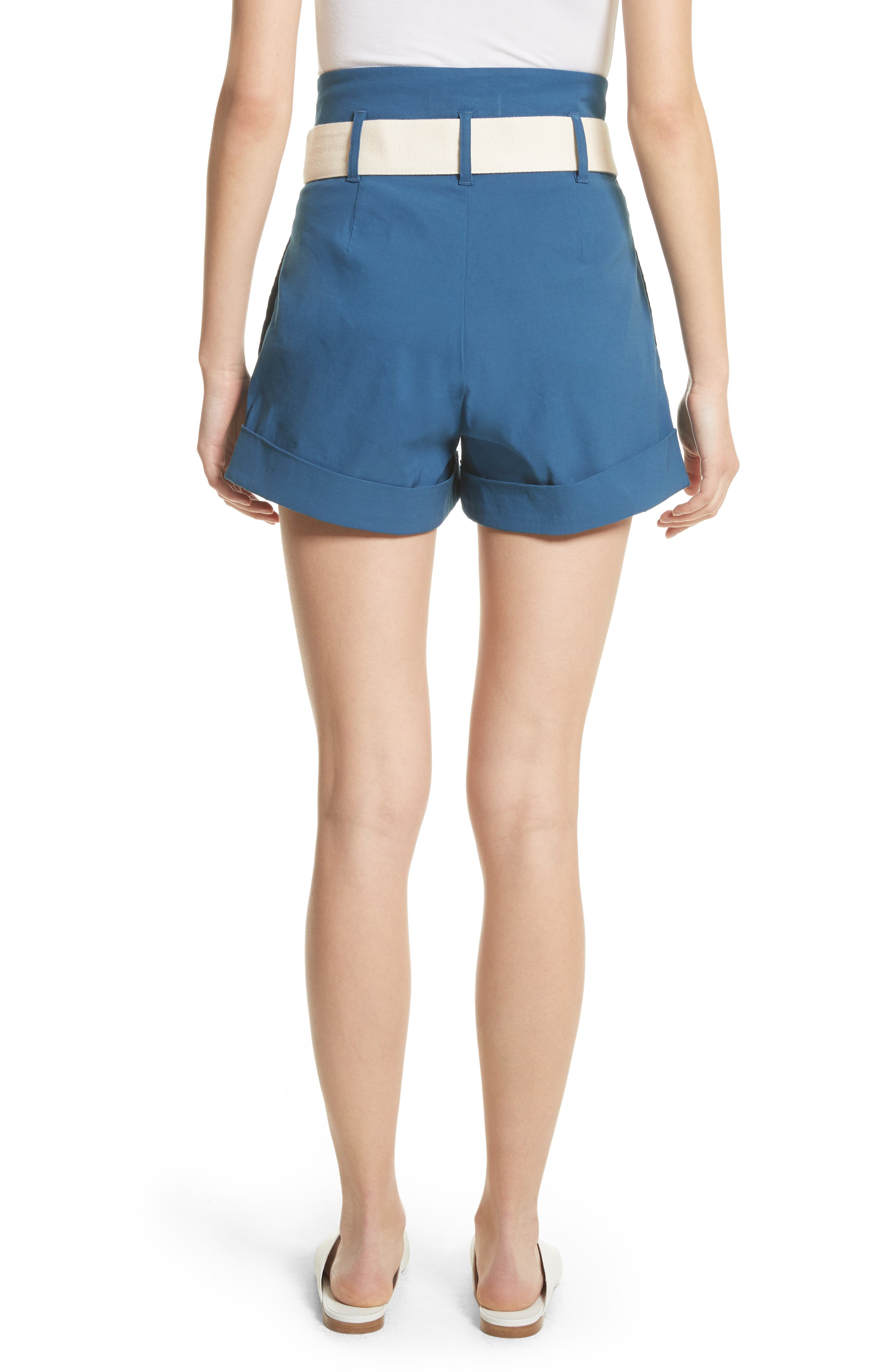 Poppy Belted Cotton & Linen Blend Shorts,                             Alternate thumbnail 2, color,                             Blue