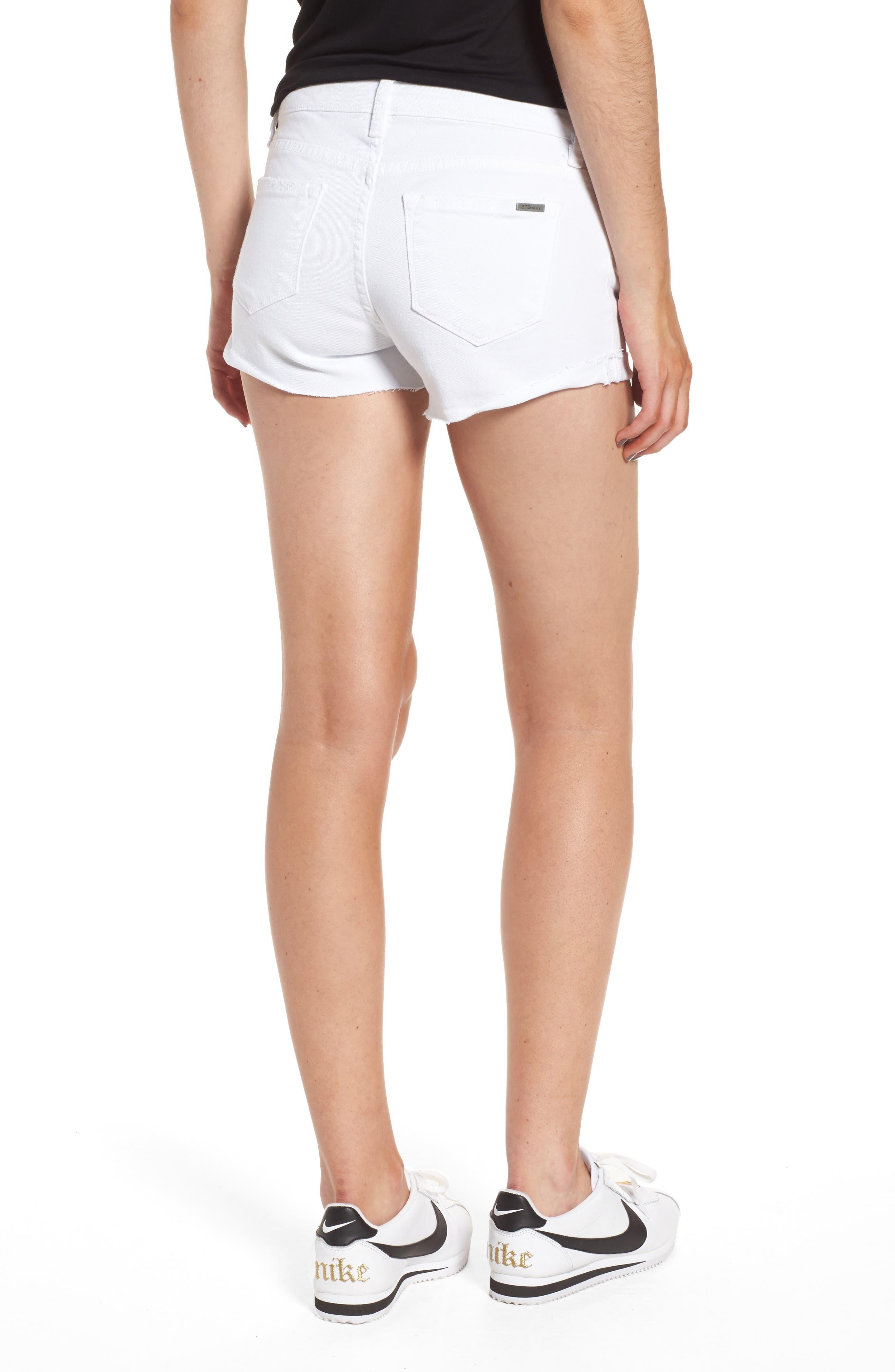 Distressed Boyfriend Denim Shorts,                             Alternate thumbnail 2, color,                             Optic White