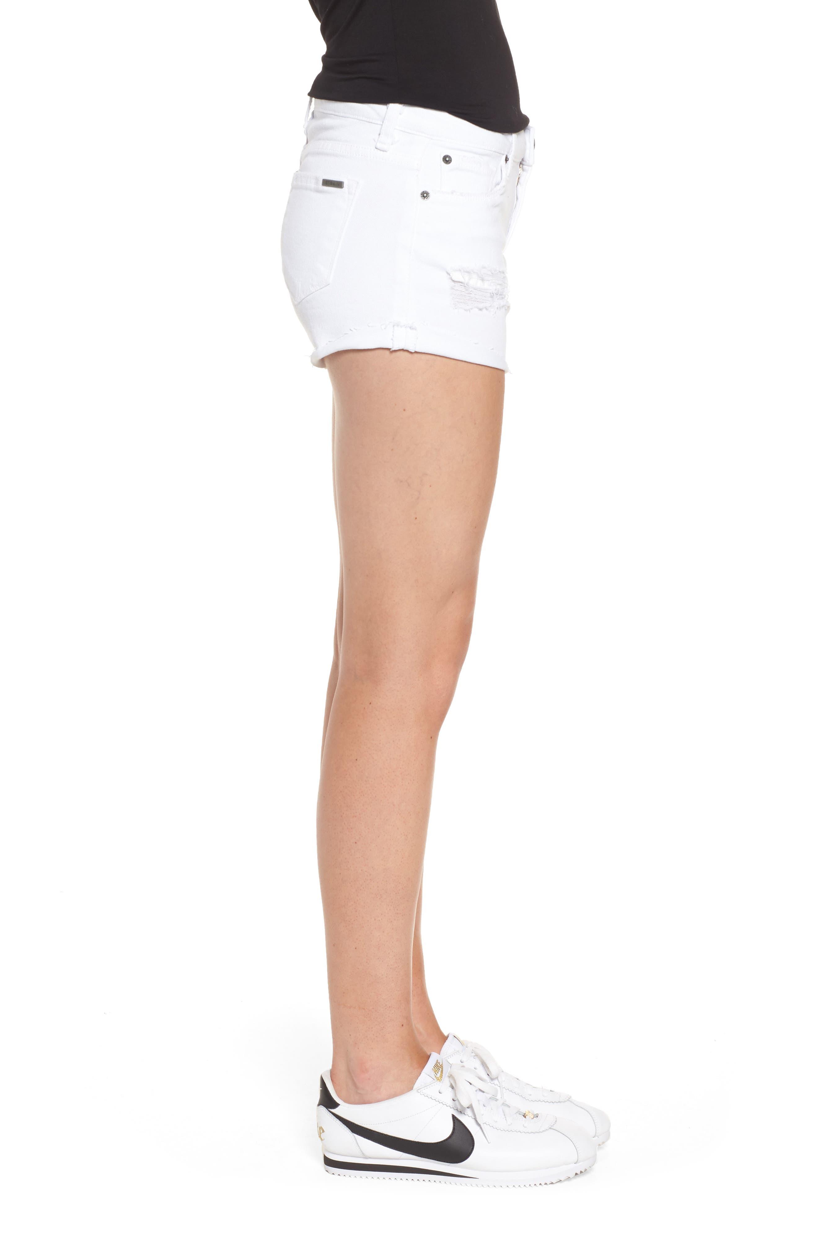 Distressed Boyfriend Denim Shorts,                             Alternate thumbnail 3, color,                             Optic White