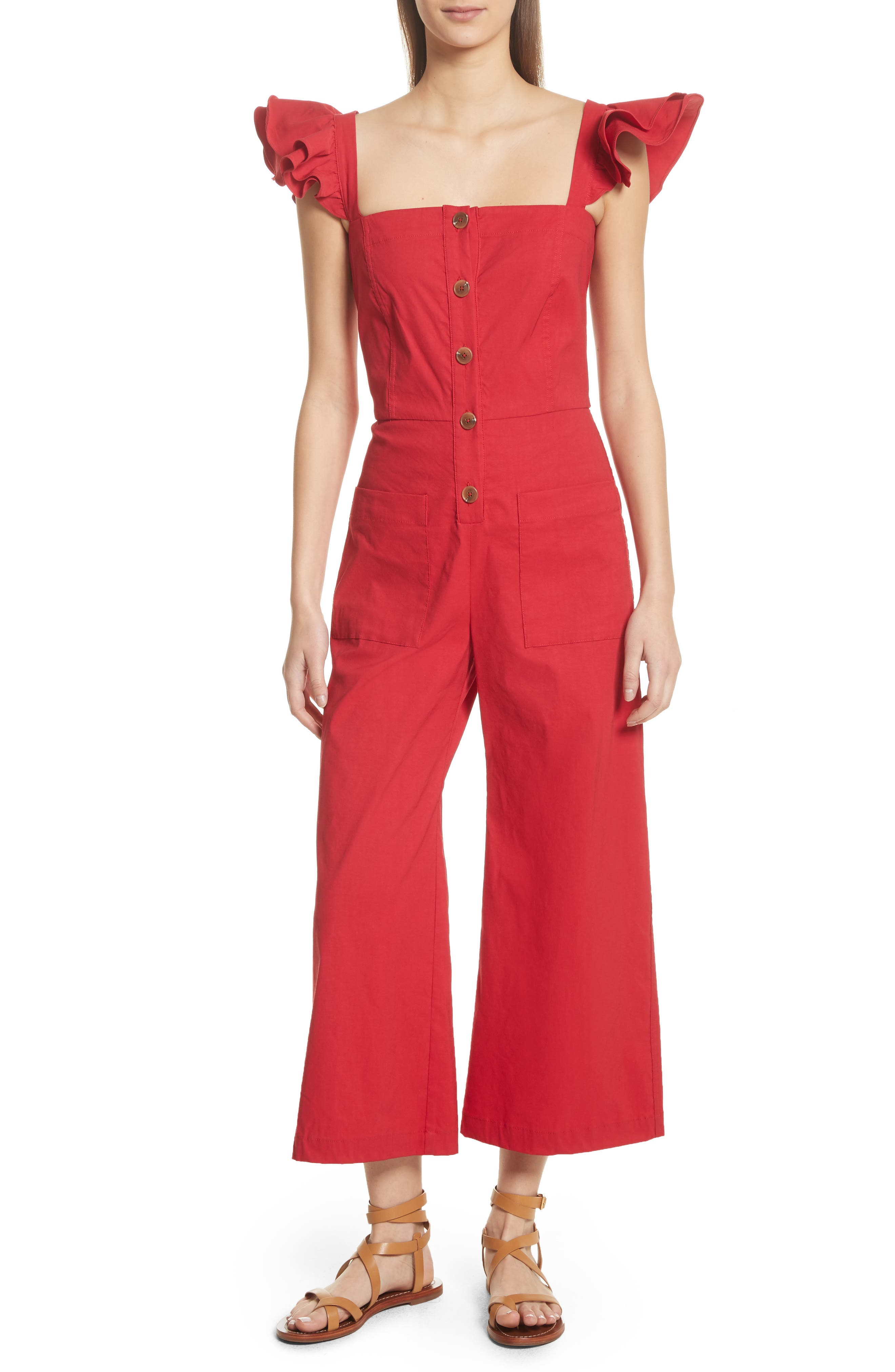 Callie Ruffle Strap Jumpsuit,                         Main,                         color, Red