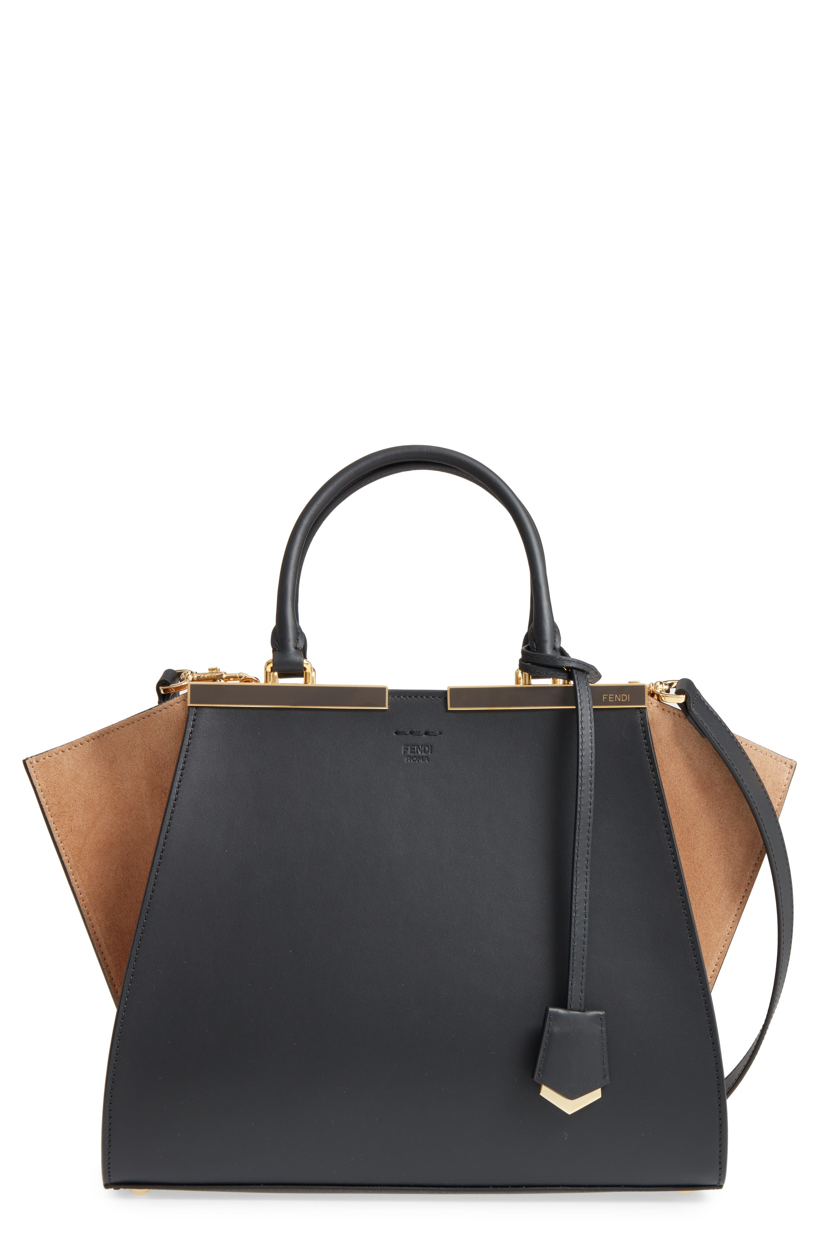 3Jours Leather & Suede Shopper,                         Main,                         color, Black/ Brown