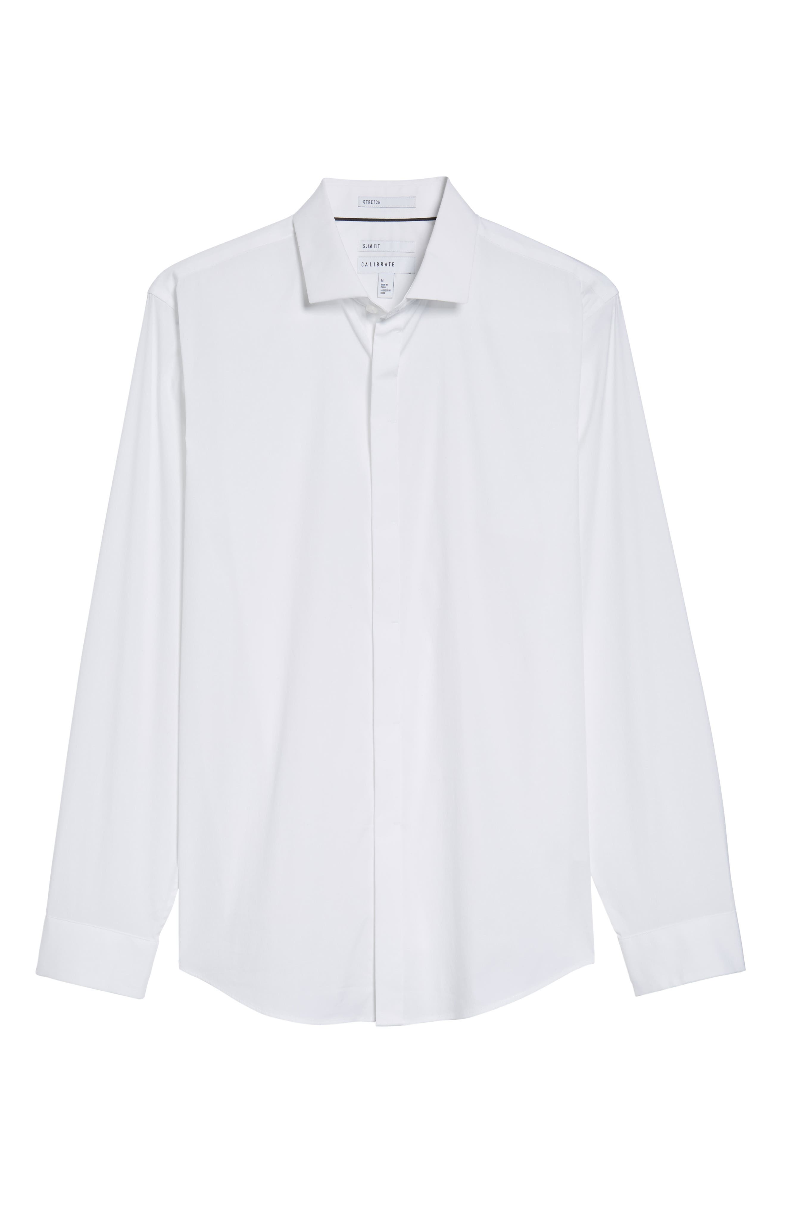 Trim Fit Stretch Sport Shirt,                             Alternate thumbnail 6, color,                             White