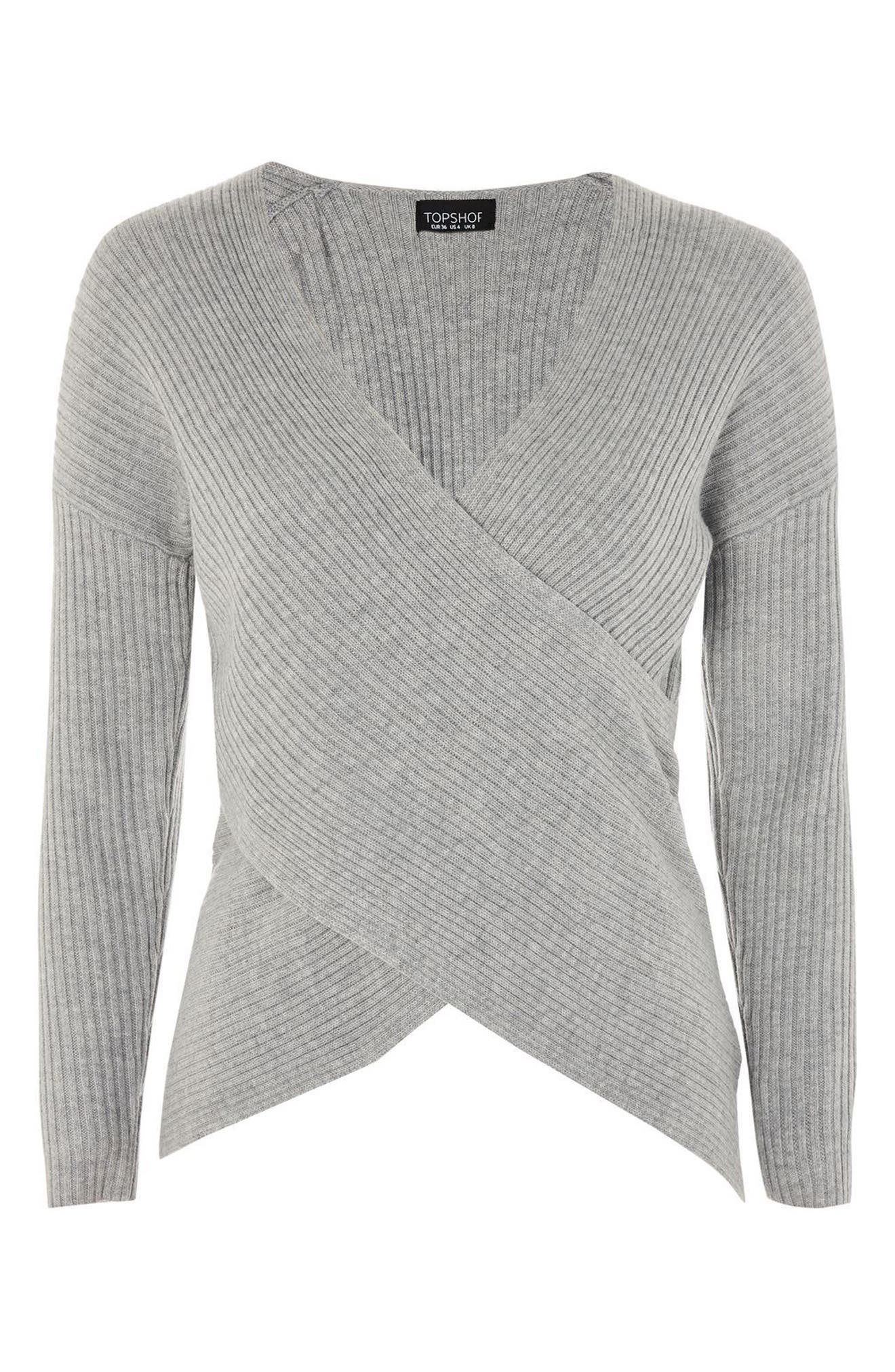 Wrap Front Sweater,                             Alternate thumbnail 4, color,                             Grey