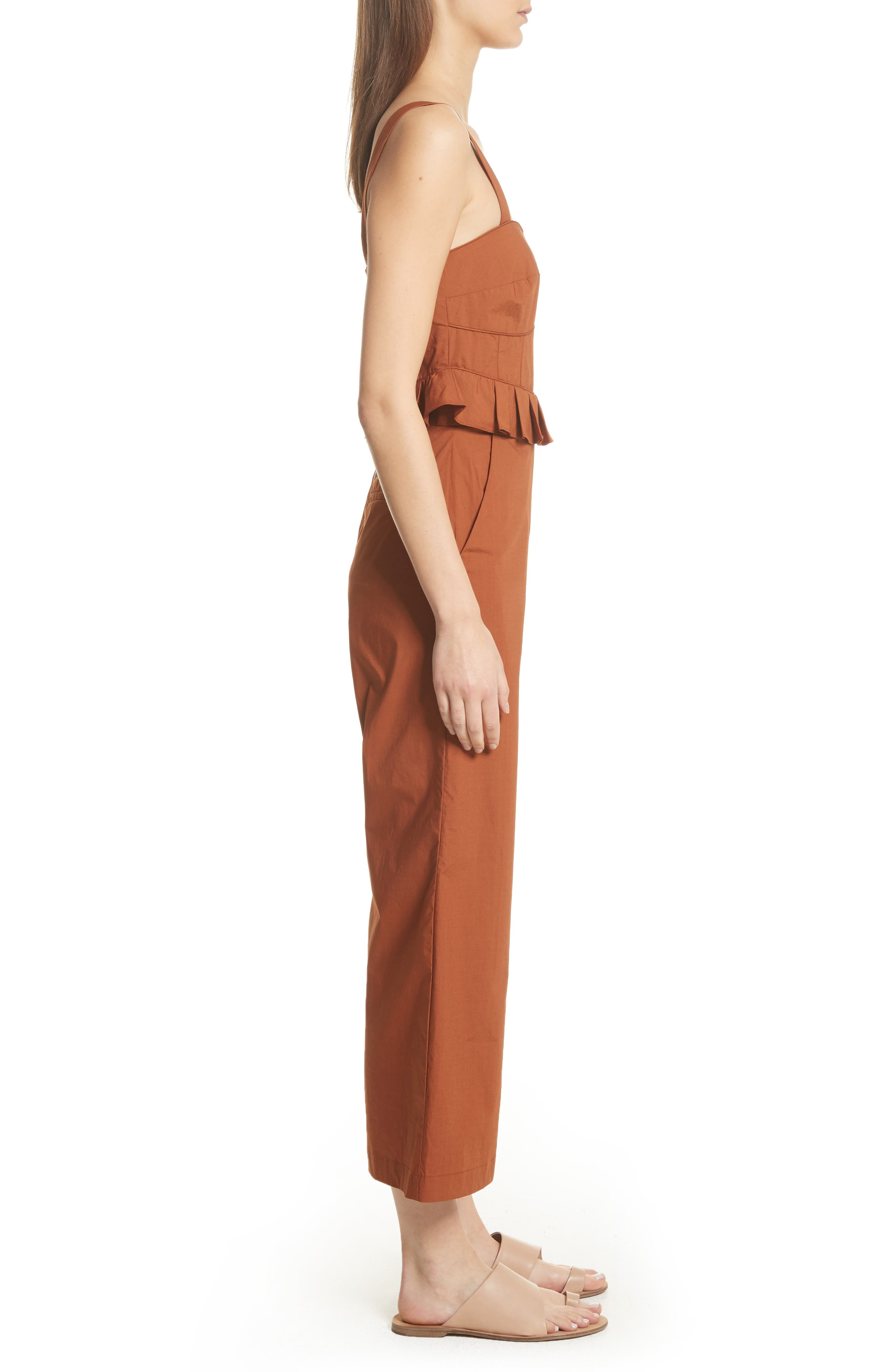 Leia Ruffle Waist Jumpsuit,                             Alternate thumbnail 3, color,                             Walnut