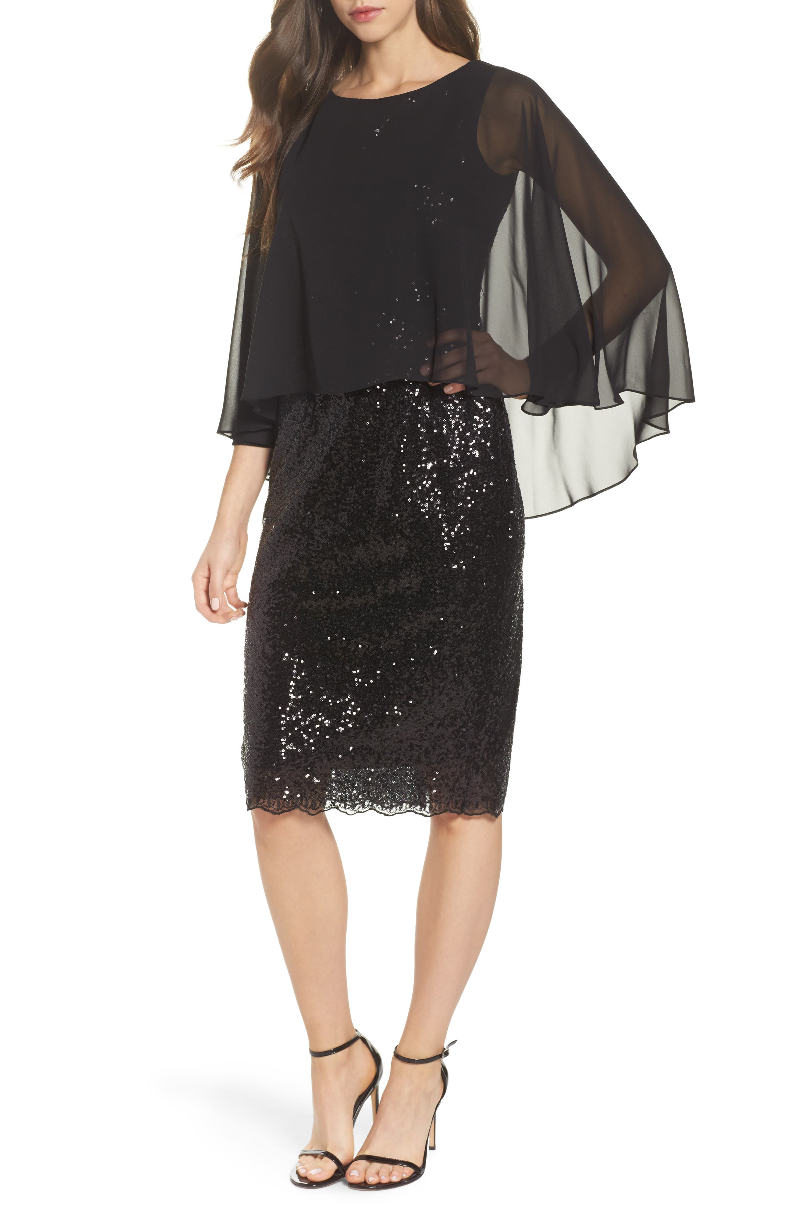 Capelet Sequin Shift Dress,                         Main,                         color, Black