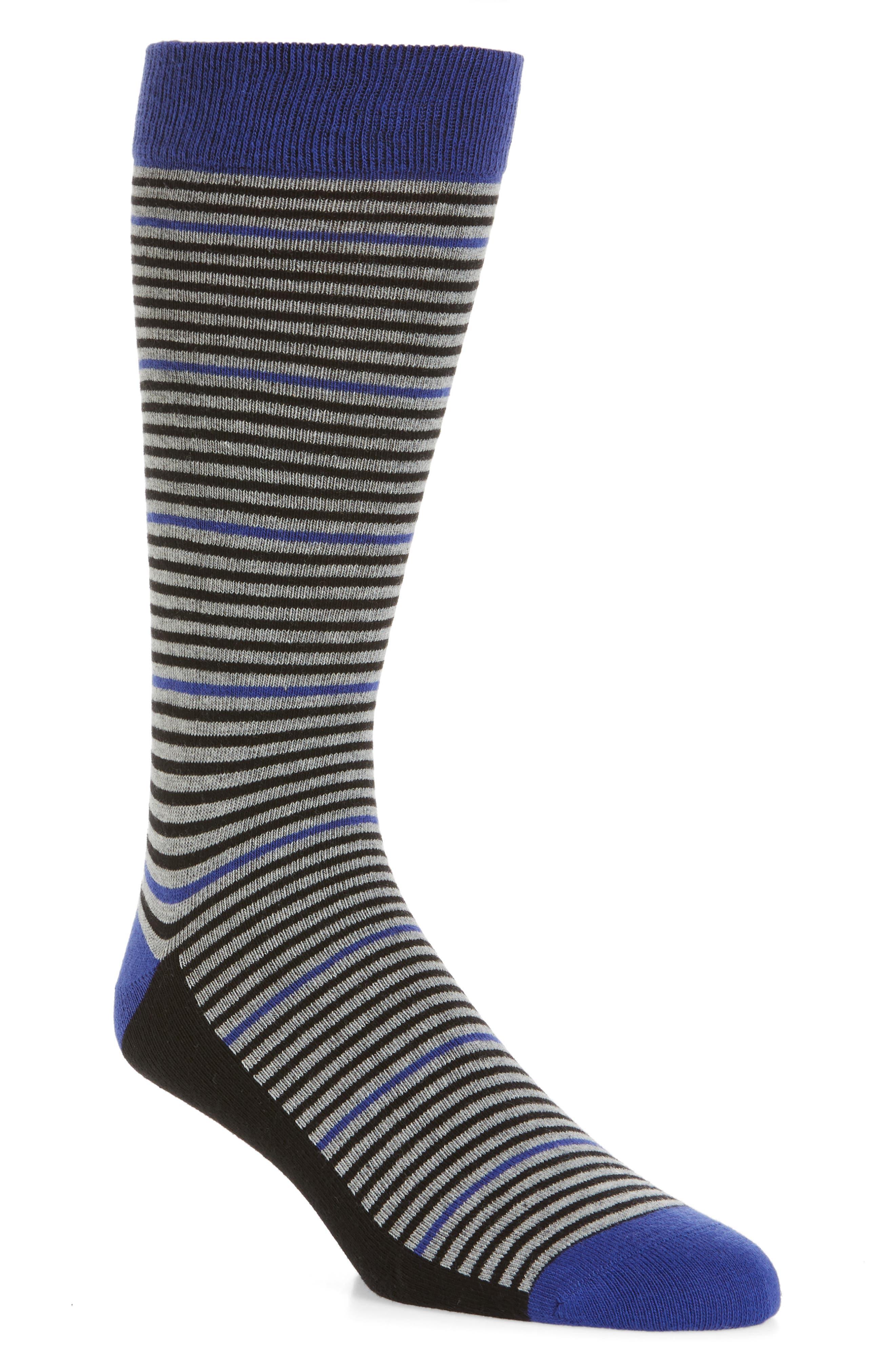 Pinstripe Socks,                         Main,                         color, Blue