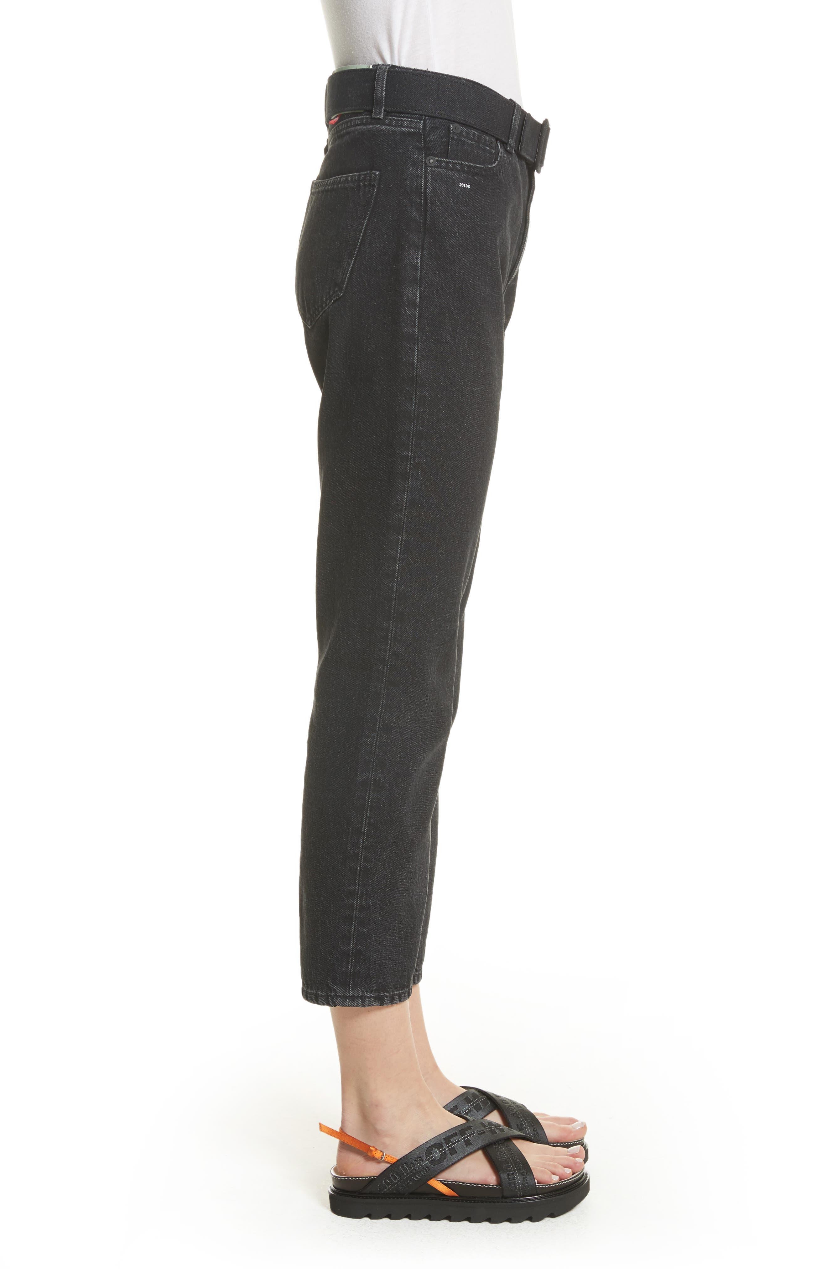 Belted Jeans,                             Alternate thumbnail 3, color,                             Black Vintage Bla