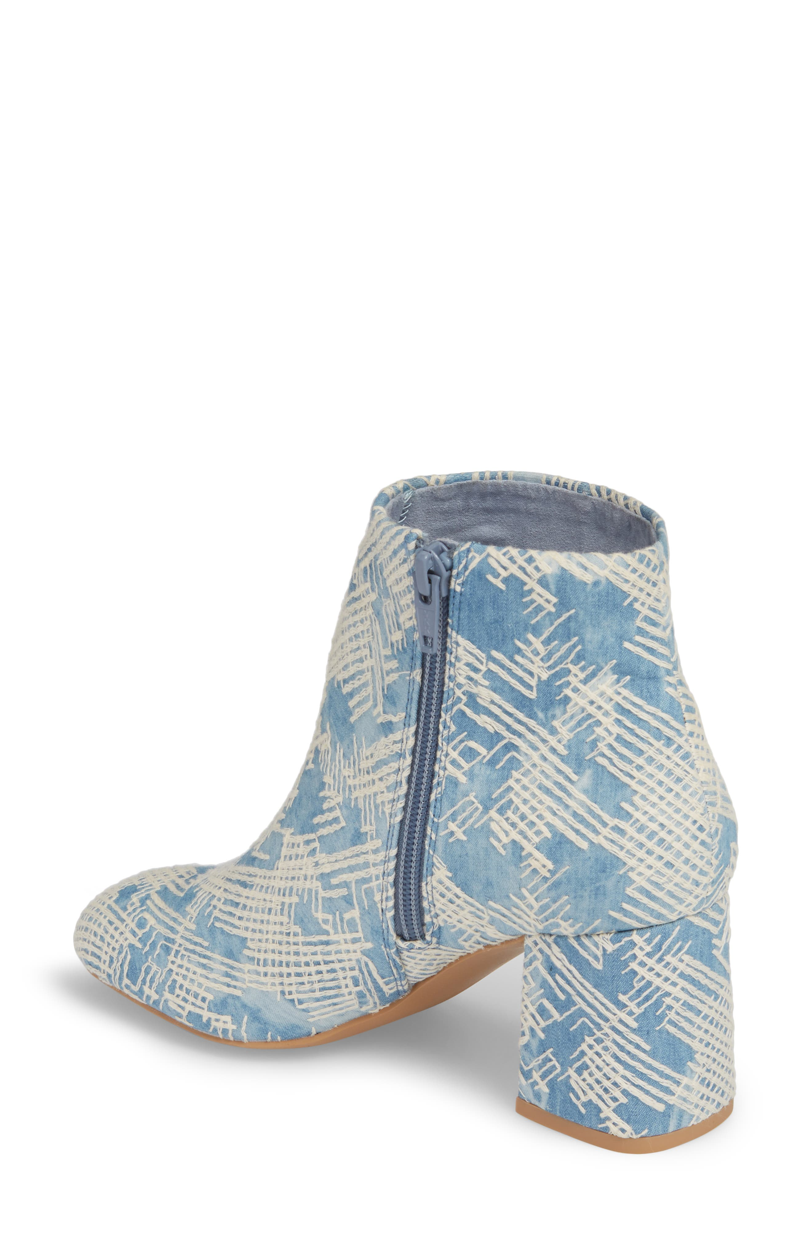 Audition Bootie,                             Alternate thumbnail 2, color,                             Emrboidered Denim