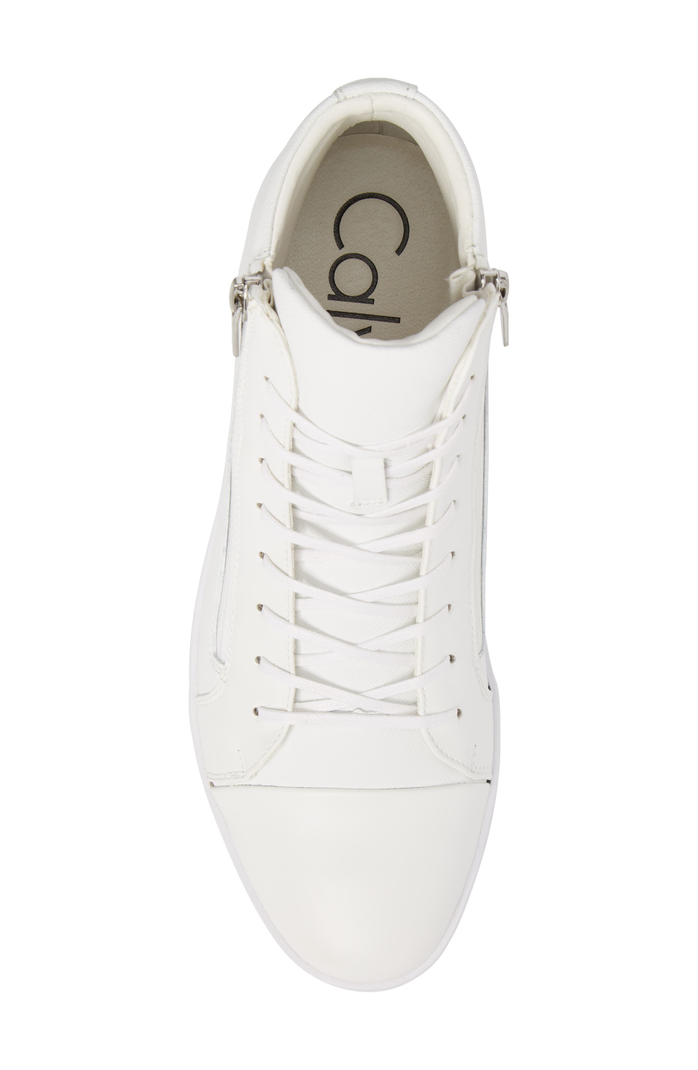 Berke High Top Sneaker,                             Alternate thumbnail 5, color,                             White Leather