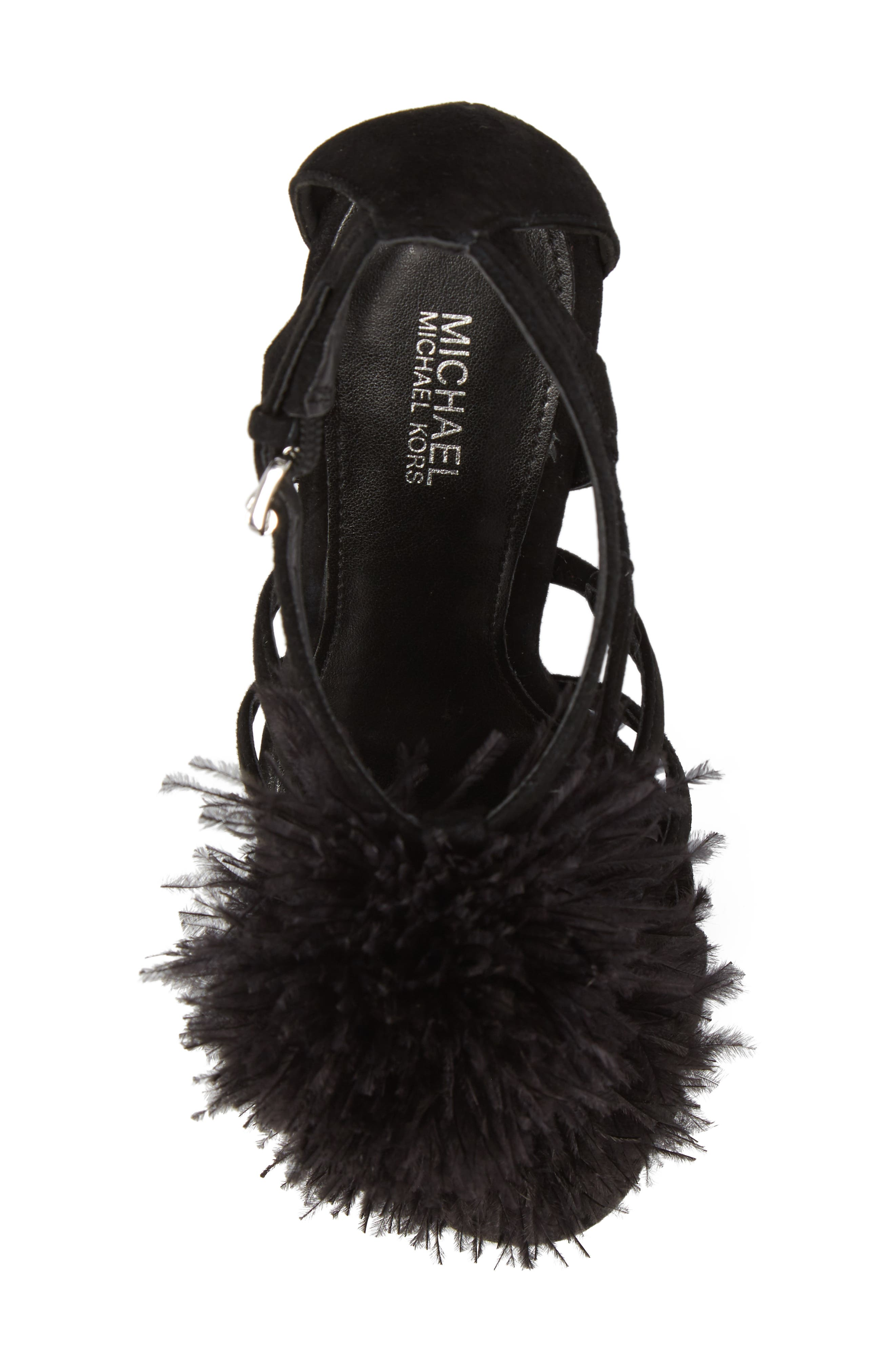 Fara Feather Pom Sandal,                             Alternate thumbnail 5, color,                             Black Suede