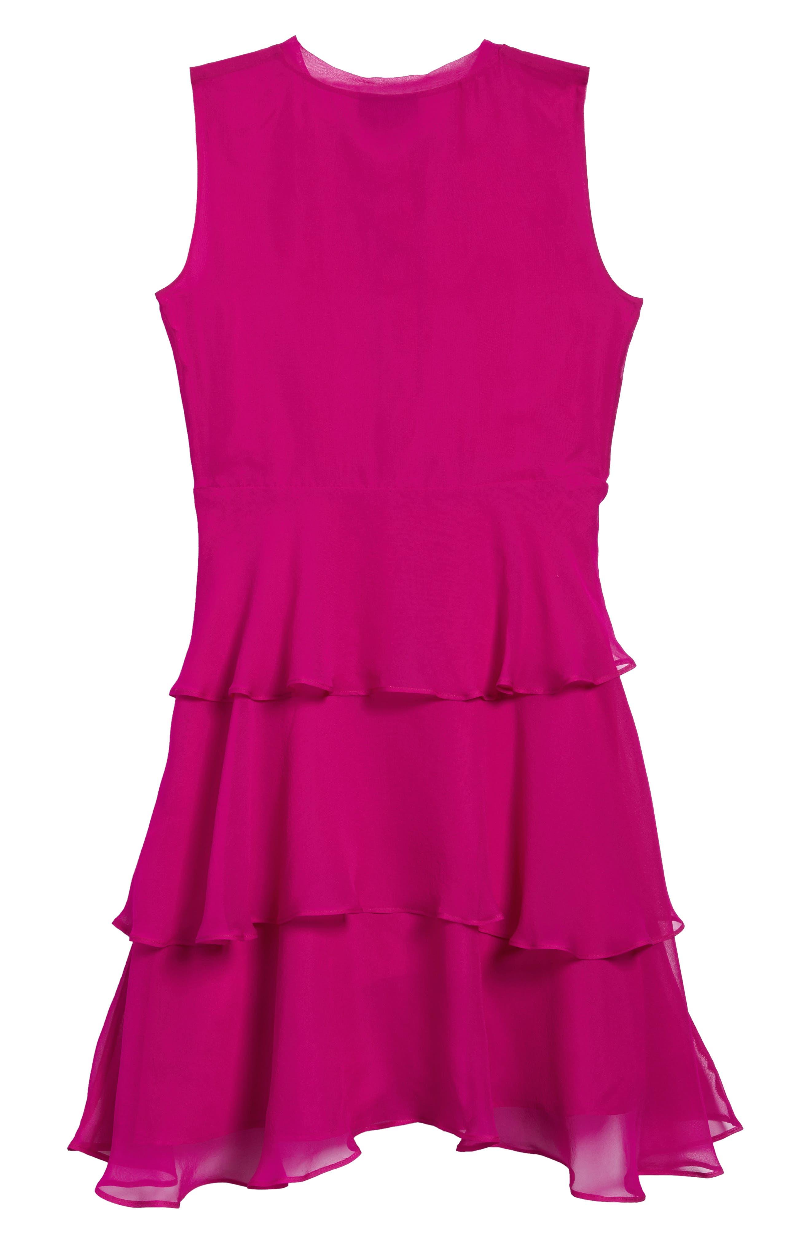 Tiered Silk Chiffon Dress,                             Alternate thumbnail 2, color,                             Fuchsia