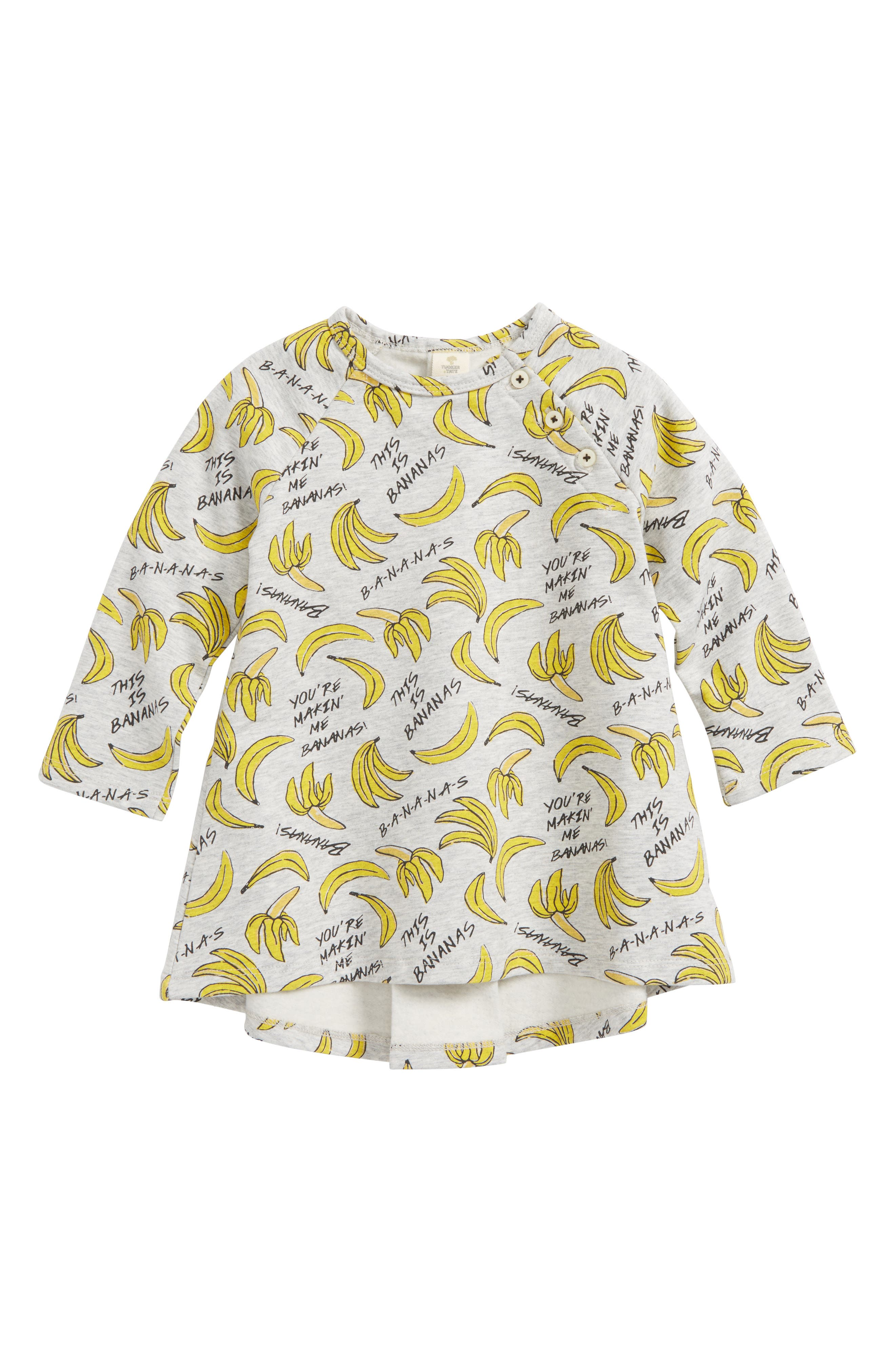 Bananas Print Fleece Dress,                         Main,                         color, Grey Ash Heather Bananas