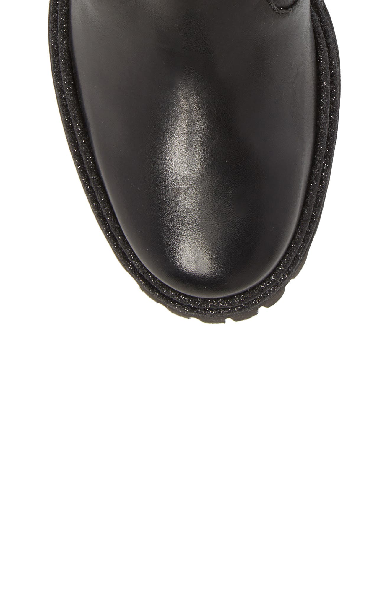Rivet Moto Boot,                             Alternate thumbnail 5, color,                             Black Leather
