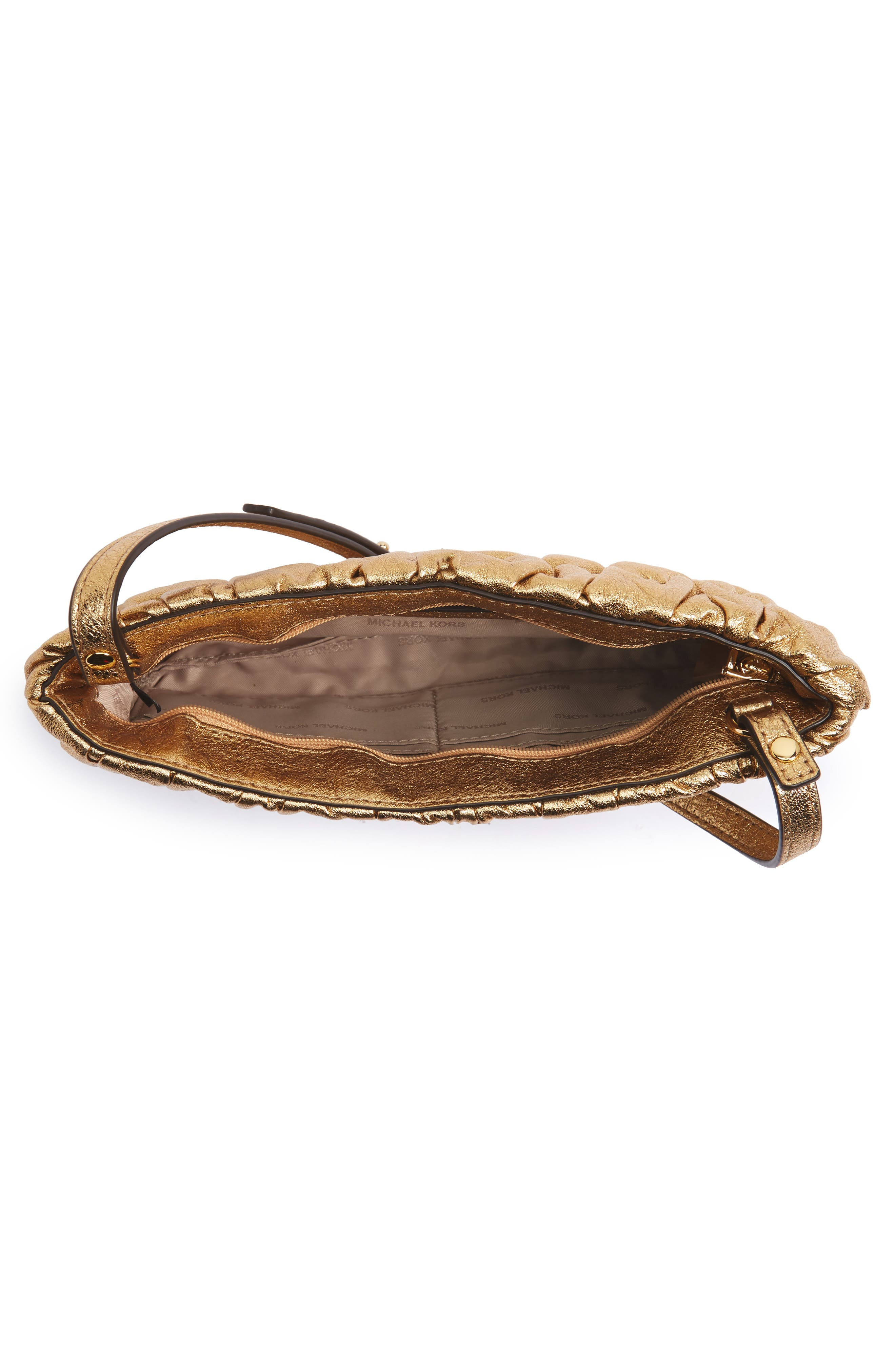 MICHAEL Michael Kors Webster Metallic Leather Clutch,                             Alternate thumbnail 4, color,                             Gold