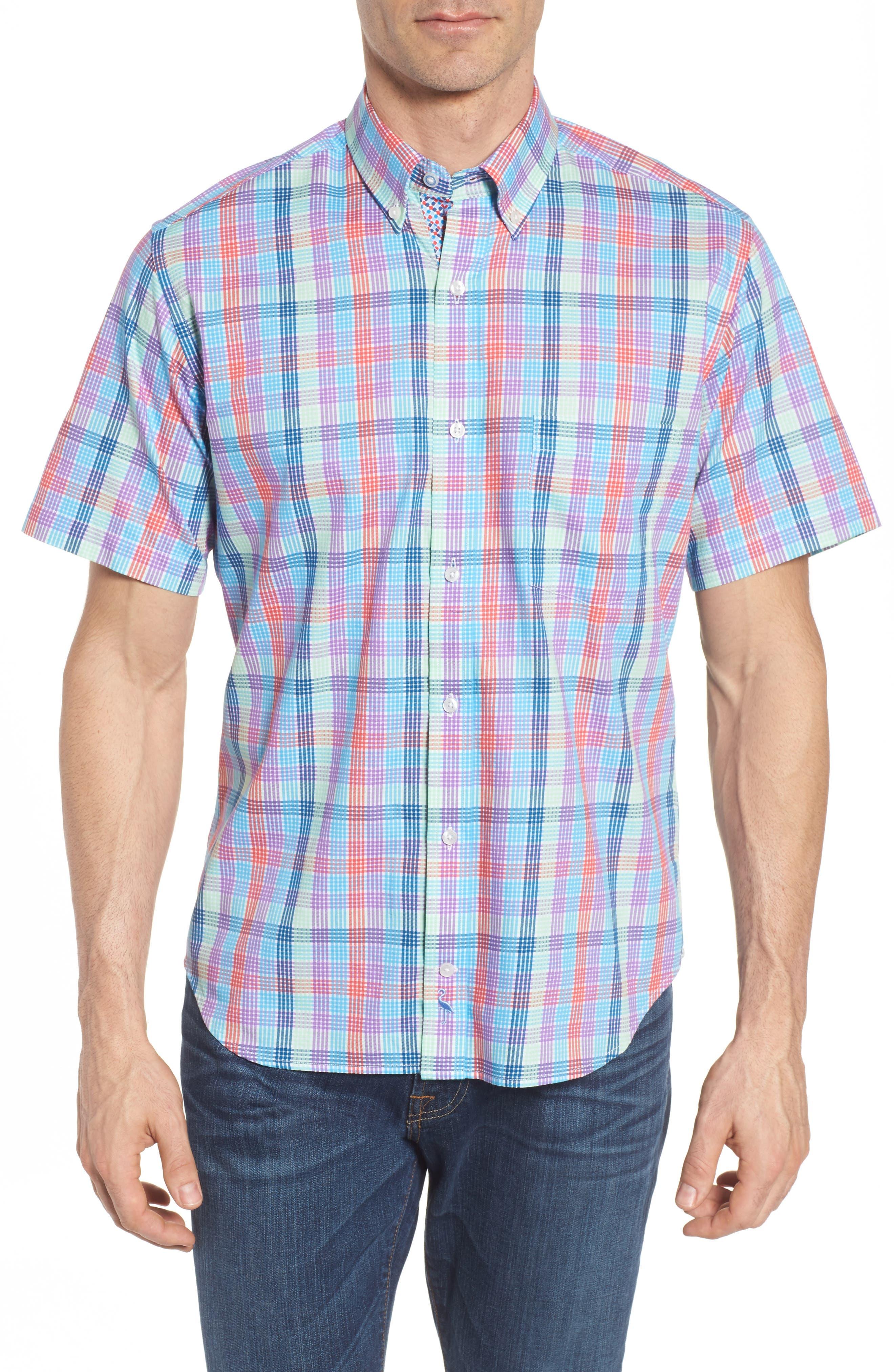 Slidell Regular Fit Check Sport Shirt,                         Main,                         color, Aqua