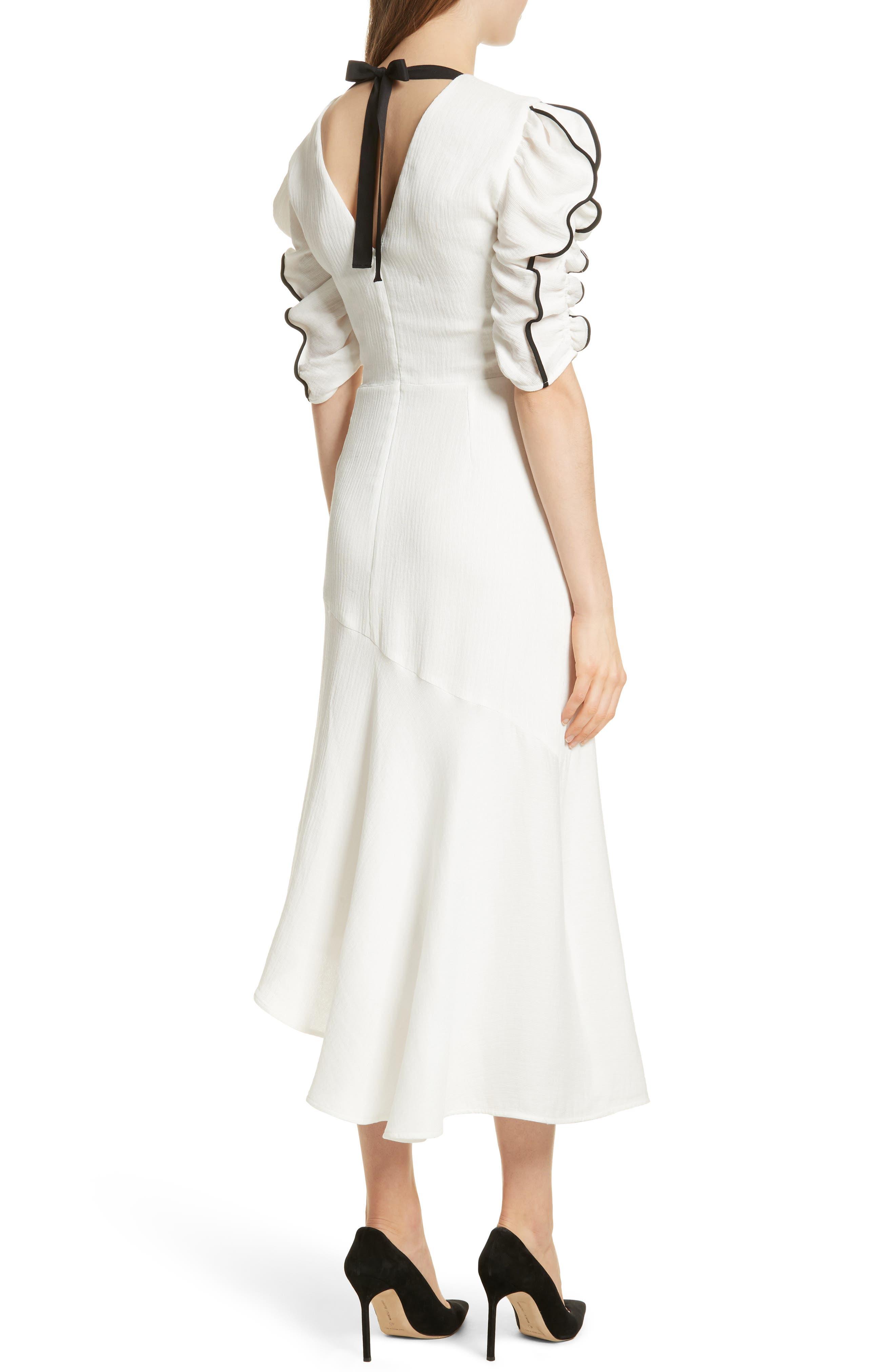 Prose & Poetry Shirley Ruffle Sleeve Midi Dress,                             Alternate thumbnail 2, color,                             Alabaster