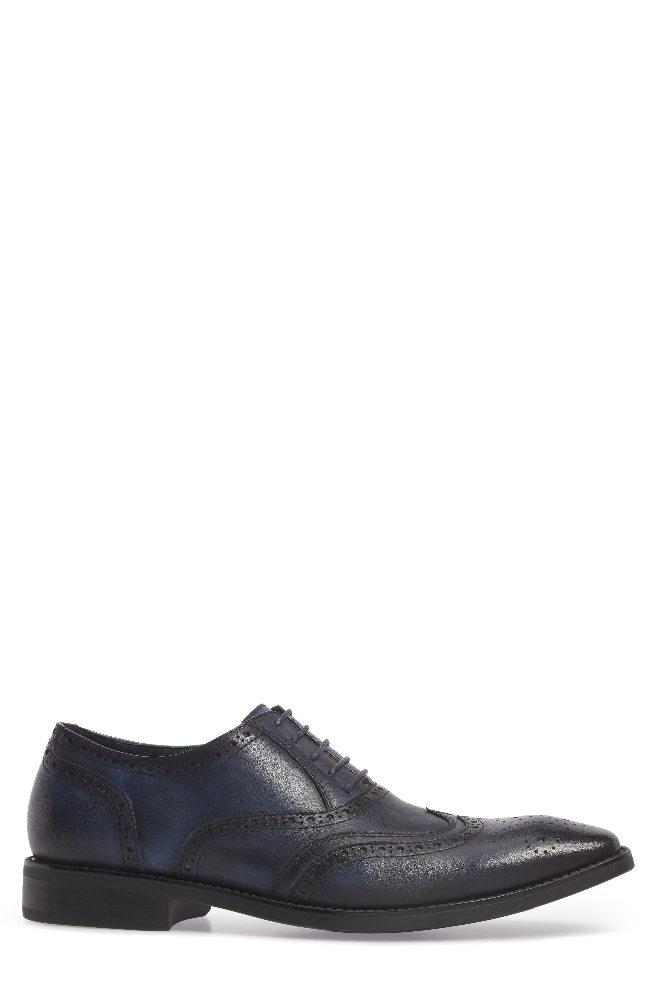 Lindsey Wingtip,                             Alternate thumbnail 3, color,                             Navy Leather