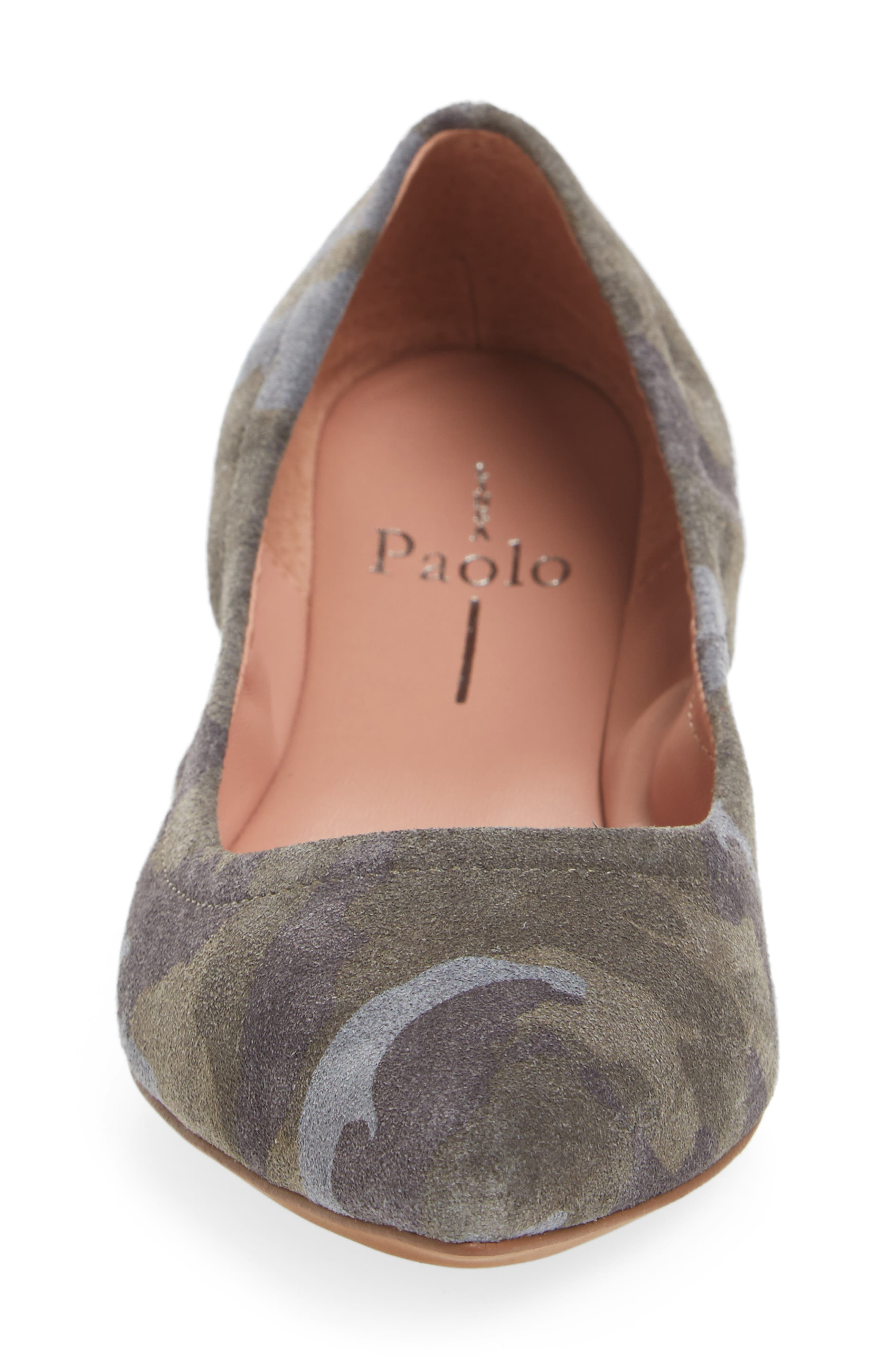 Nico Pointy Toe Flat,                             Alternate thumbnail 4, color,                             Camouflage Suede