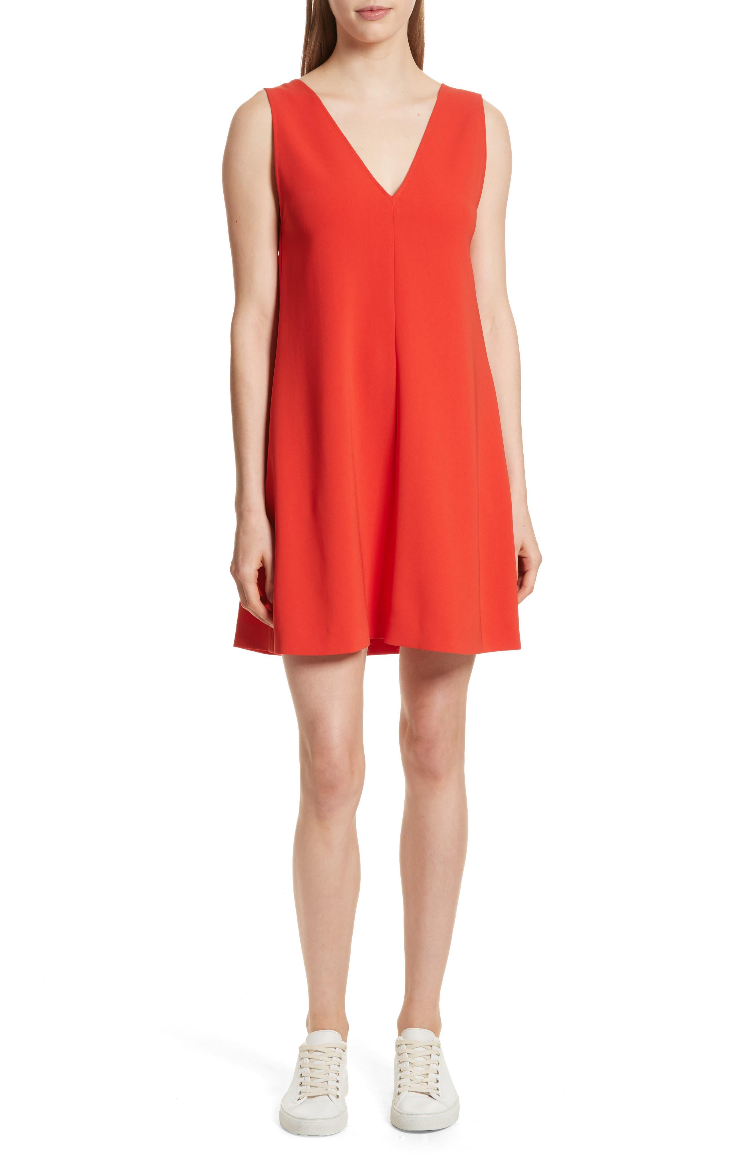 Admiral Crepe V-Neck Shift Dress,                         Main,                         color, Bright Tomato