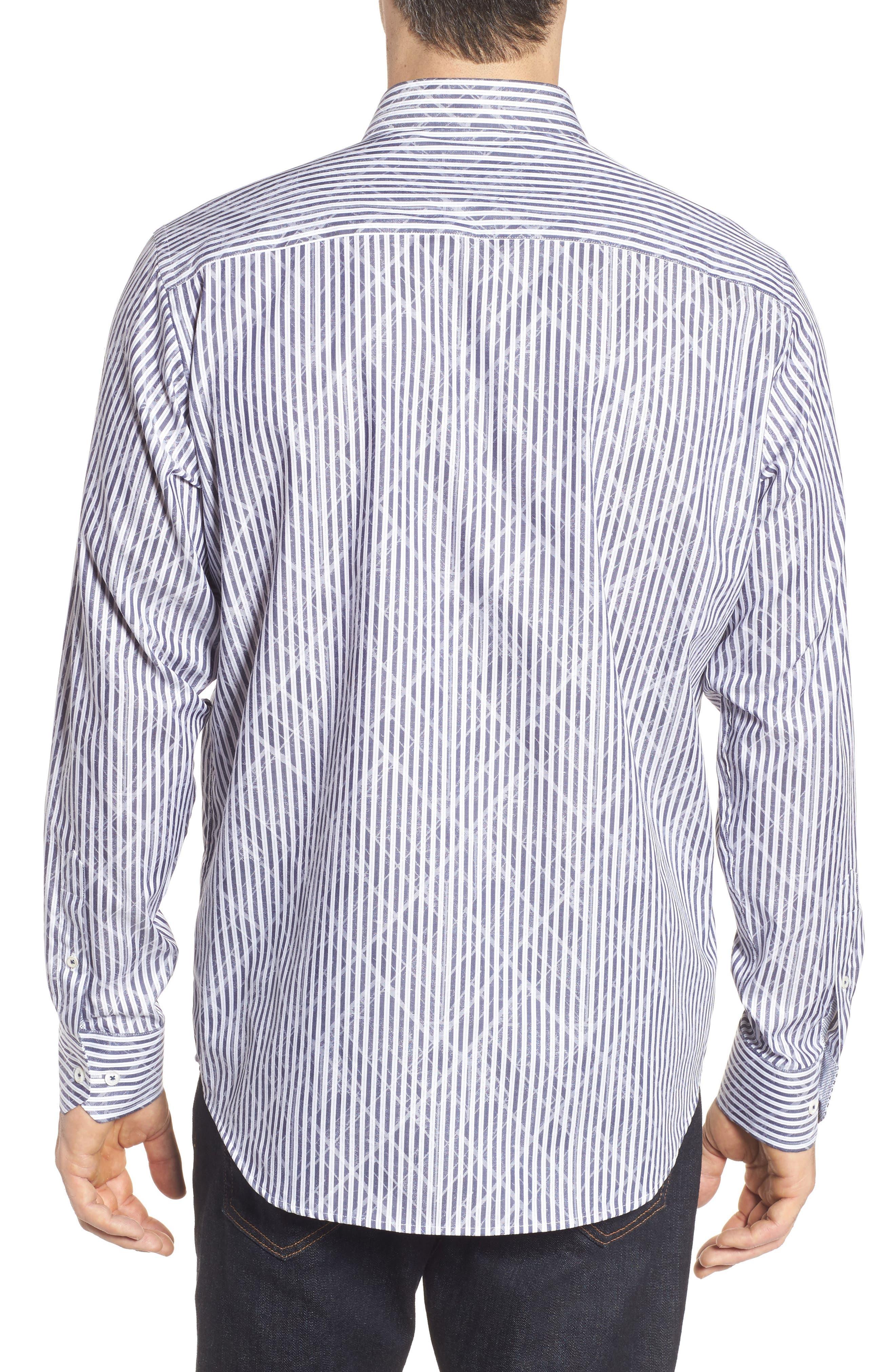 Classic Fit Stripe Sport Shirt,                             Alternate thumbnail 2, color,                             Midnight