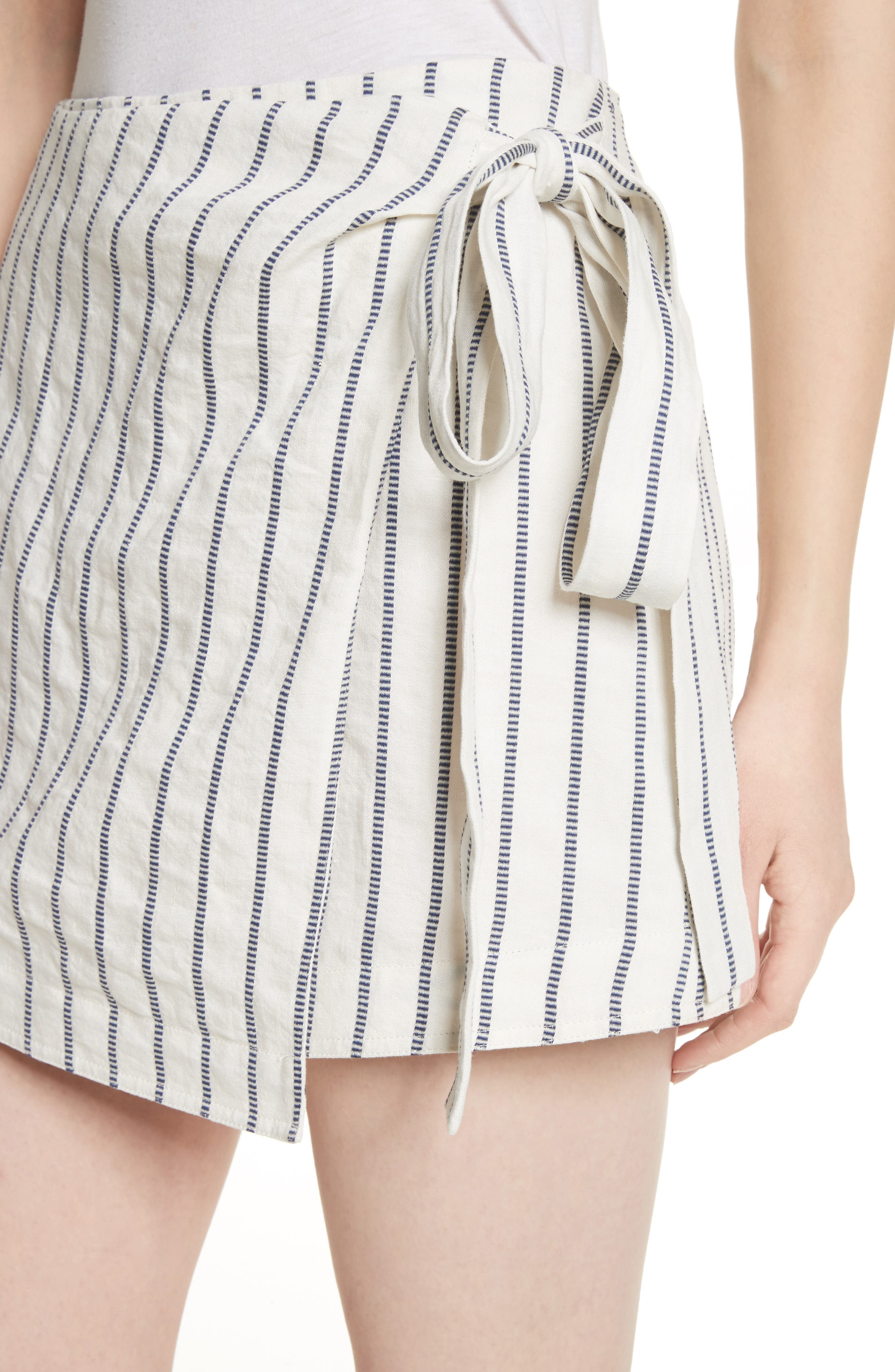 Tie Wrap Stripe Miniskirt,                             Alternate thumbnail 4, color,                             Blue/ Ivory