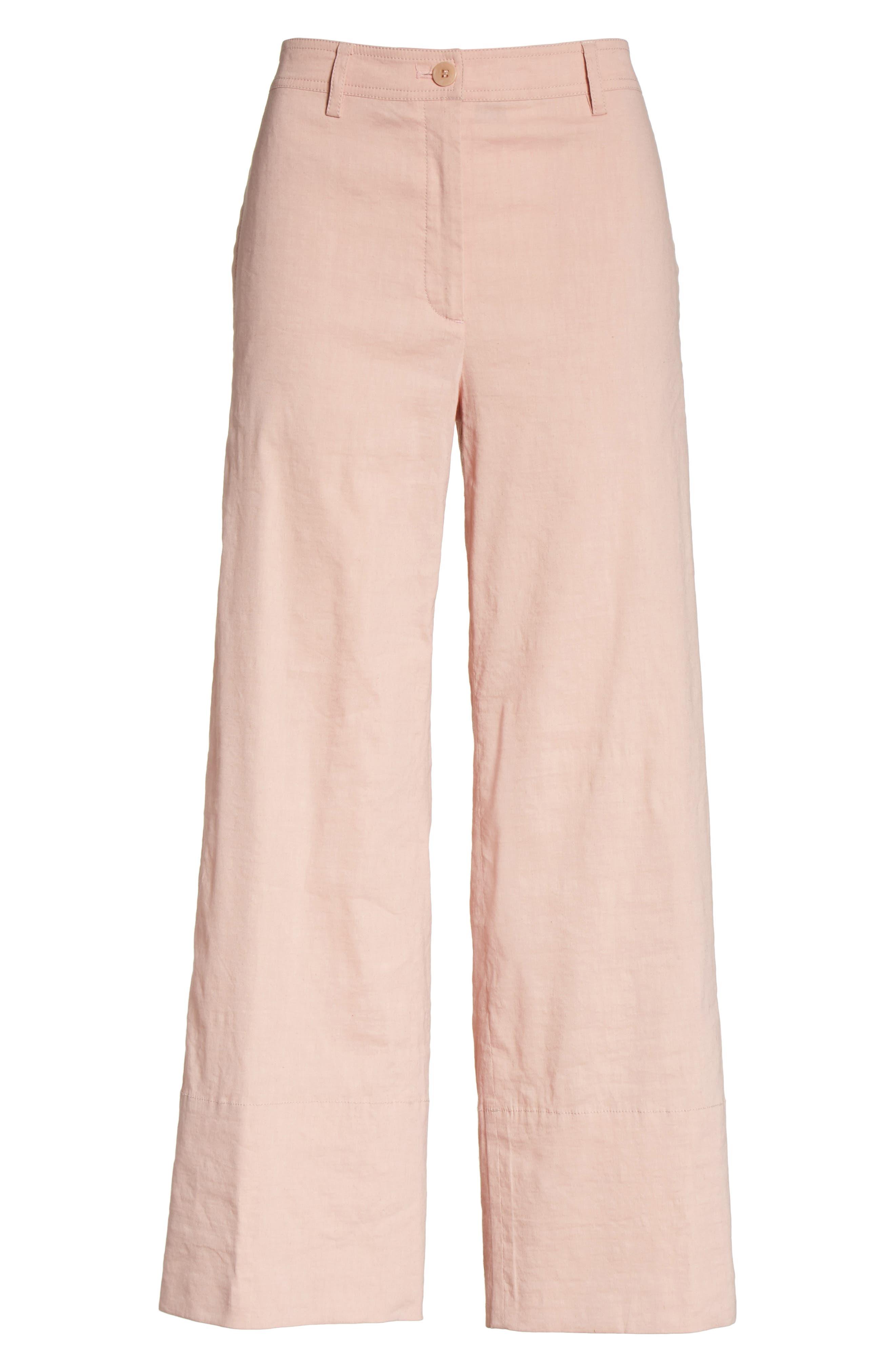 Fluid Wide Leg Crop Pants,                             Alternate thumbnail 6, color,                             Pink Ballet
