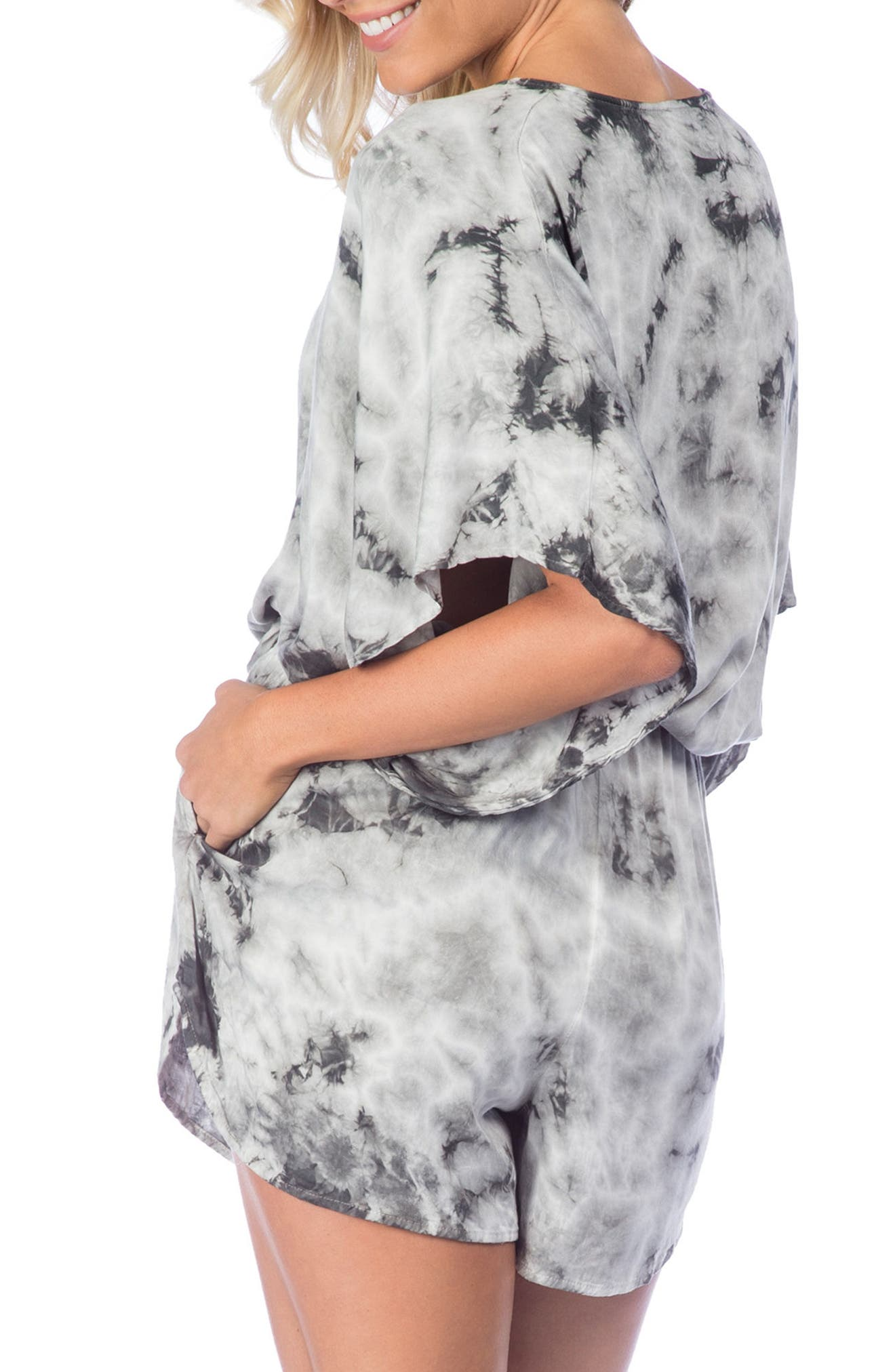 Crystal Forest Eliza Cover-Up Romper,                             Alternate thumbnail 2, color,                             Charcoal