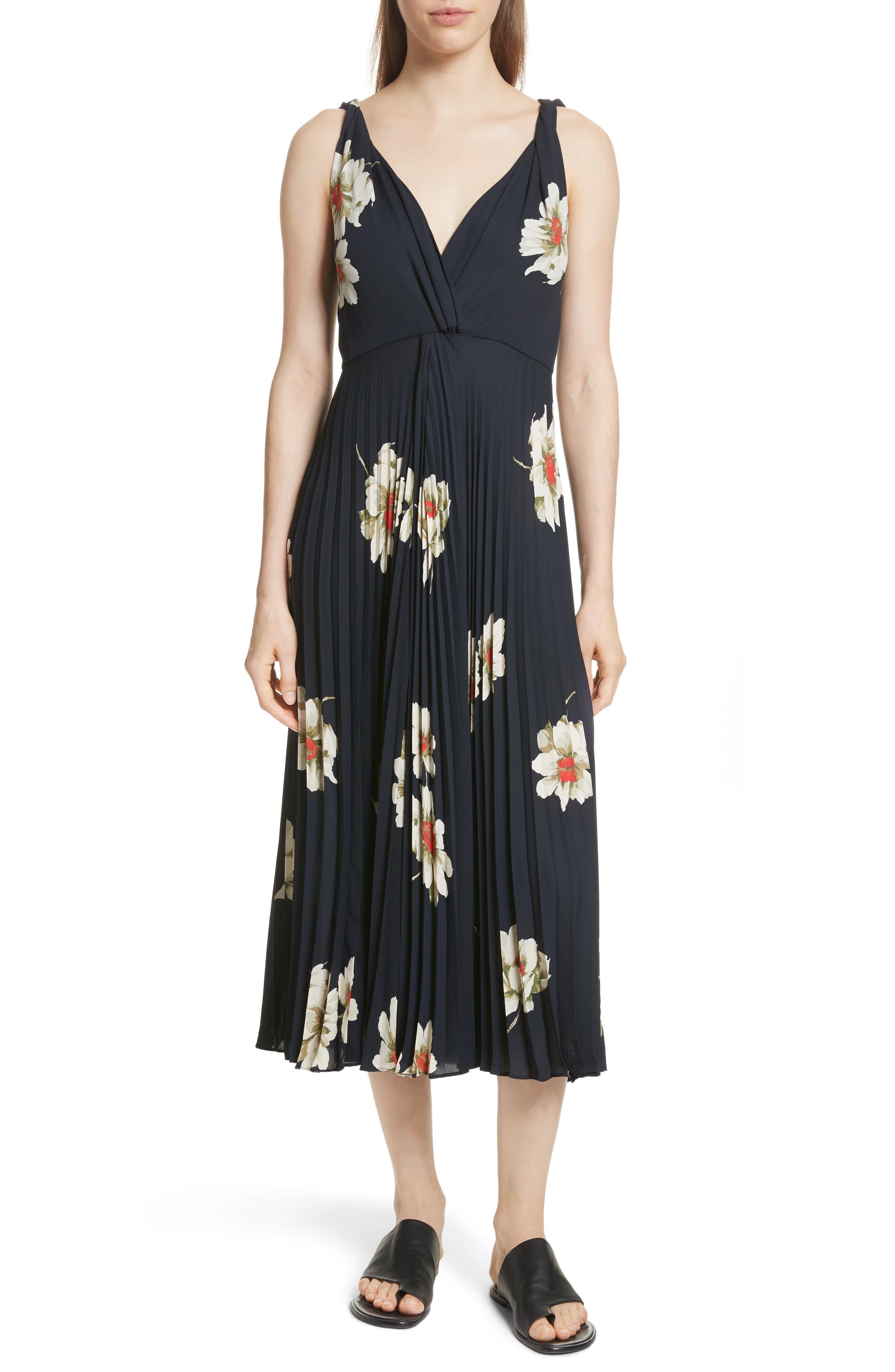 Gardenia Floral Midi Dress,                         Main,                         color, Coastal
