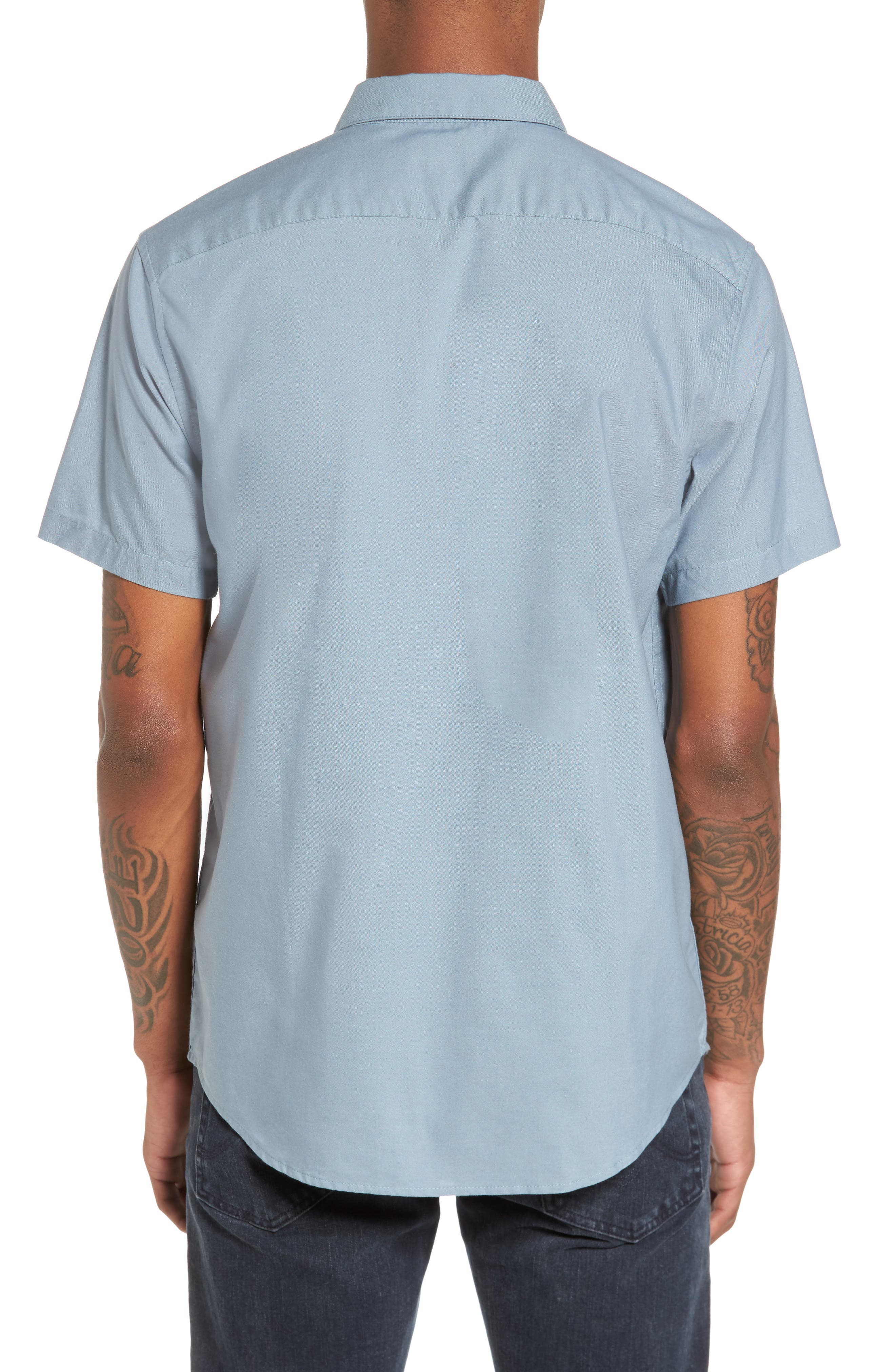 Alternate Image 4  - RVCA 'That'll Do' Slim Fit Short Sleeve Oxford Shirt