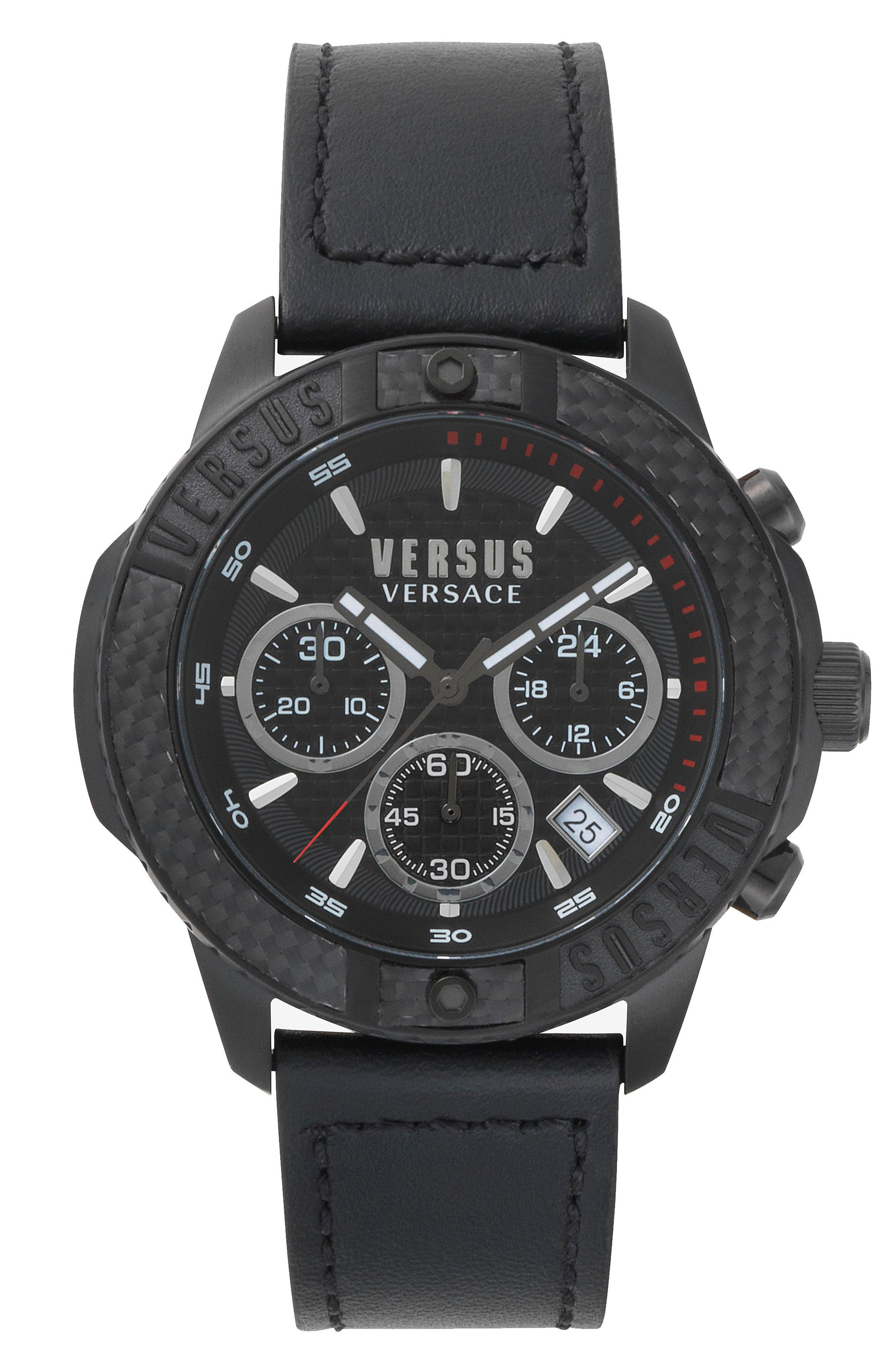 Main Image - VERSUS by Versace Admiralty Chronograph Leather Strap Watch, 44mm