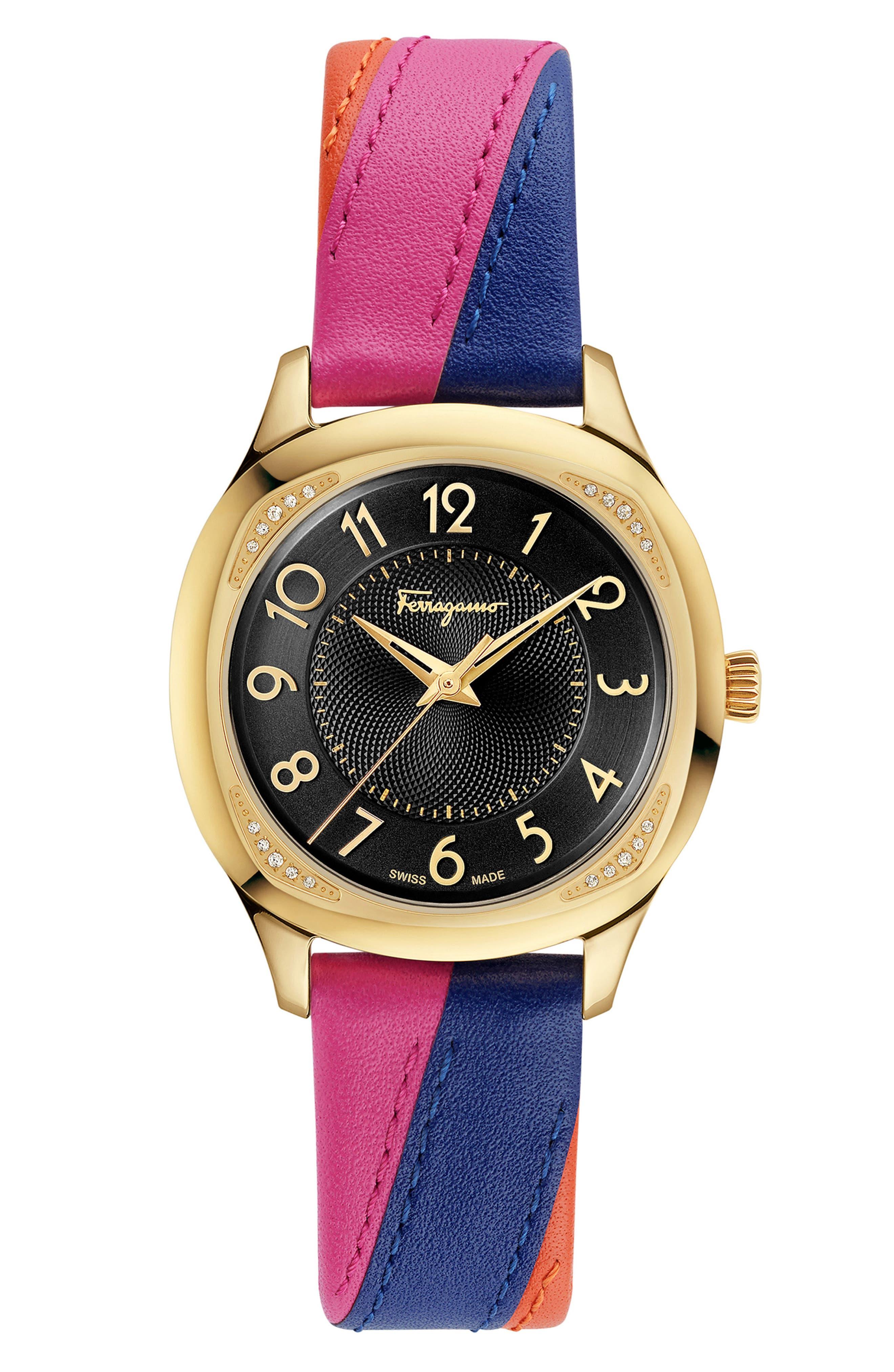 Main Image - Salvatore Ferragamo Time Square Leather Strap Watch, 36mm