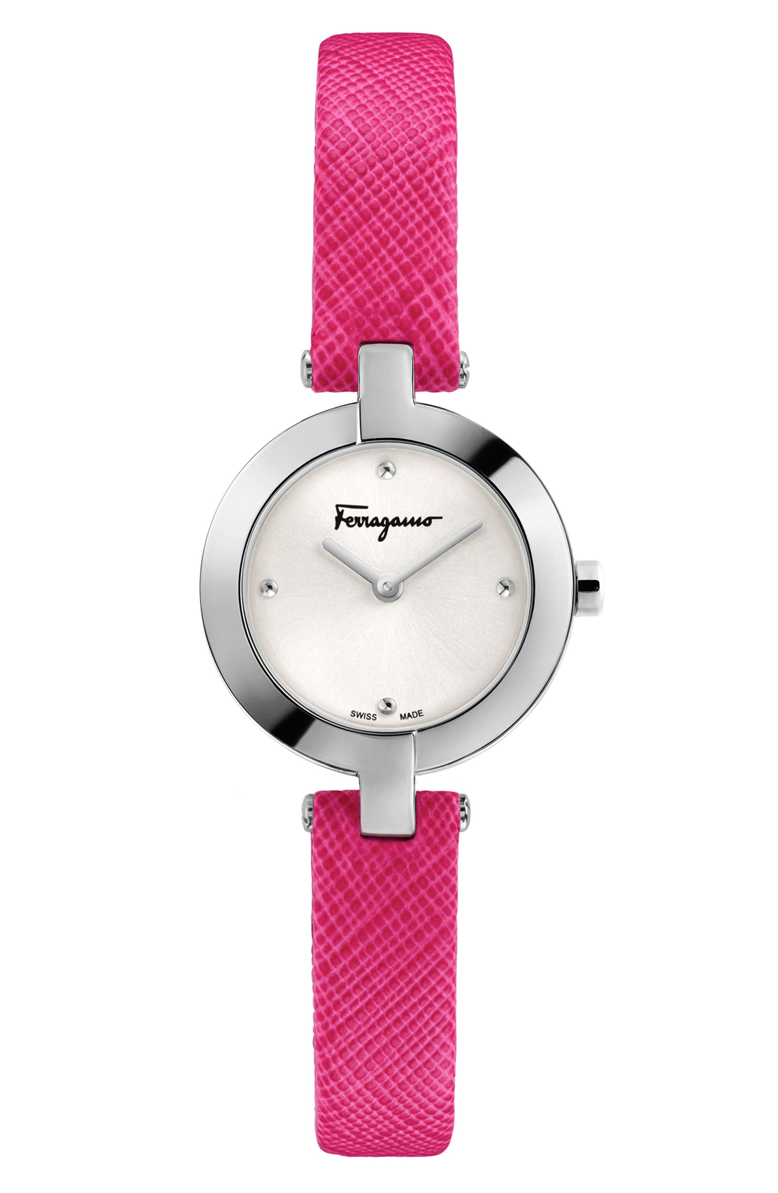 Miniature Leather Strap Watch, 26mm,                             Main thumbnail 1, color,                             Fuchsia/ Silver