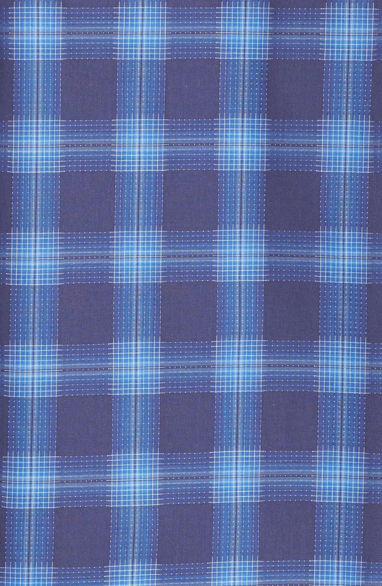 Classic Fit Plaid Sport Shirt,                             Alternate thumbnail 5, color,                             Night Blue