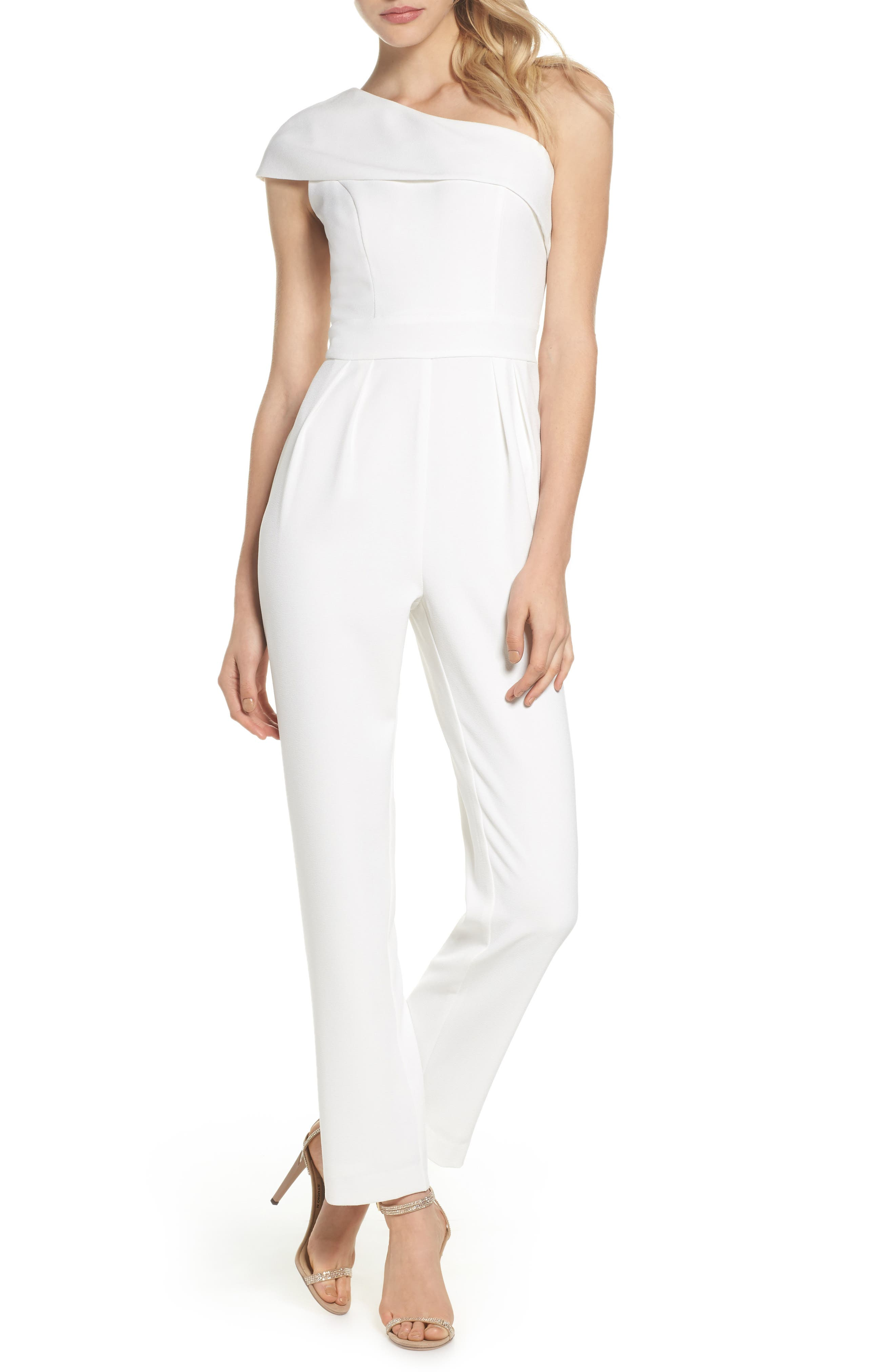 One-Shoulder Crepe Jumpsuit,                         Main,                         color, Ivy