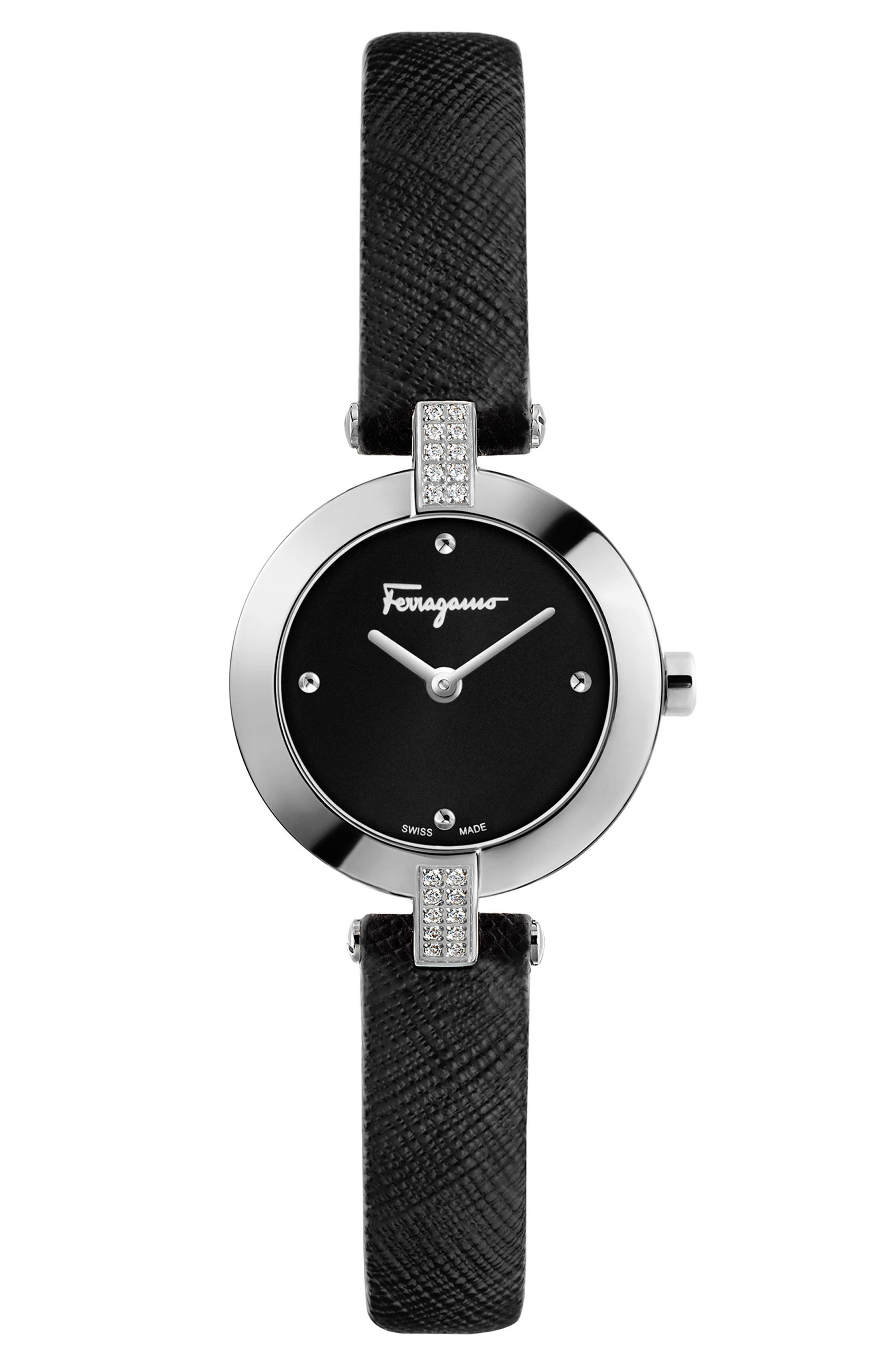 Miniature Leather Strap Watch, 26mm,                             Main thumbnail 1, color,                             Black/ Silver