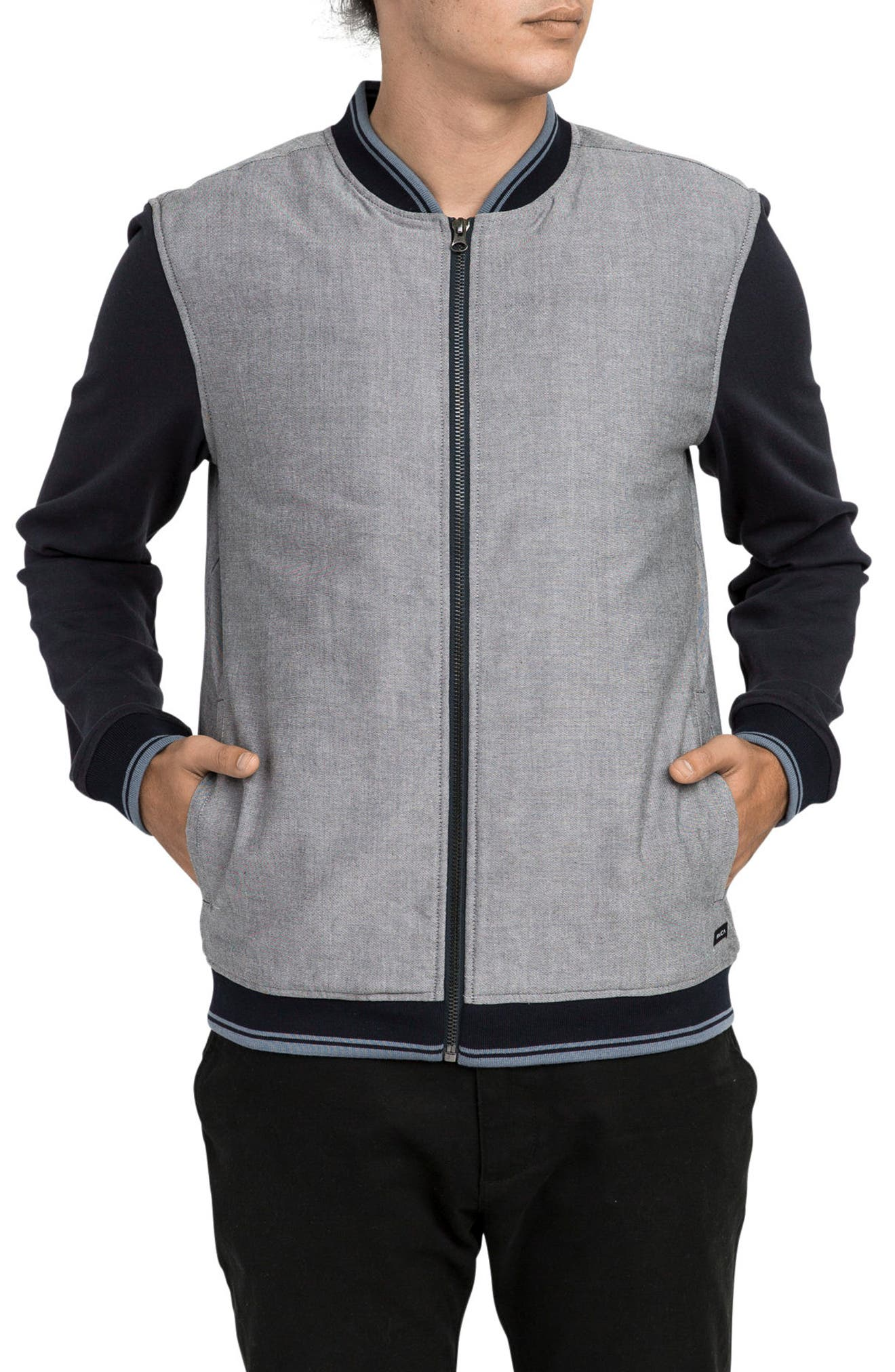 Oxford Bomber Jacket,                         Main,                         color, Carbon