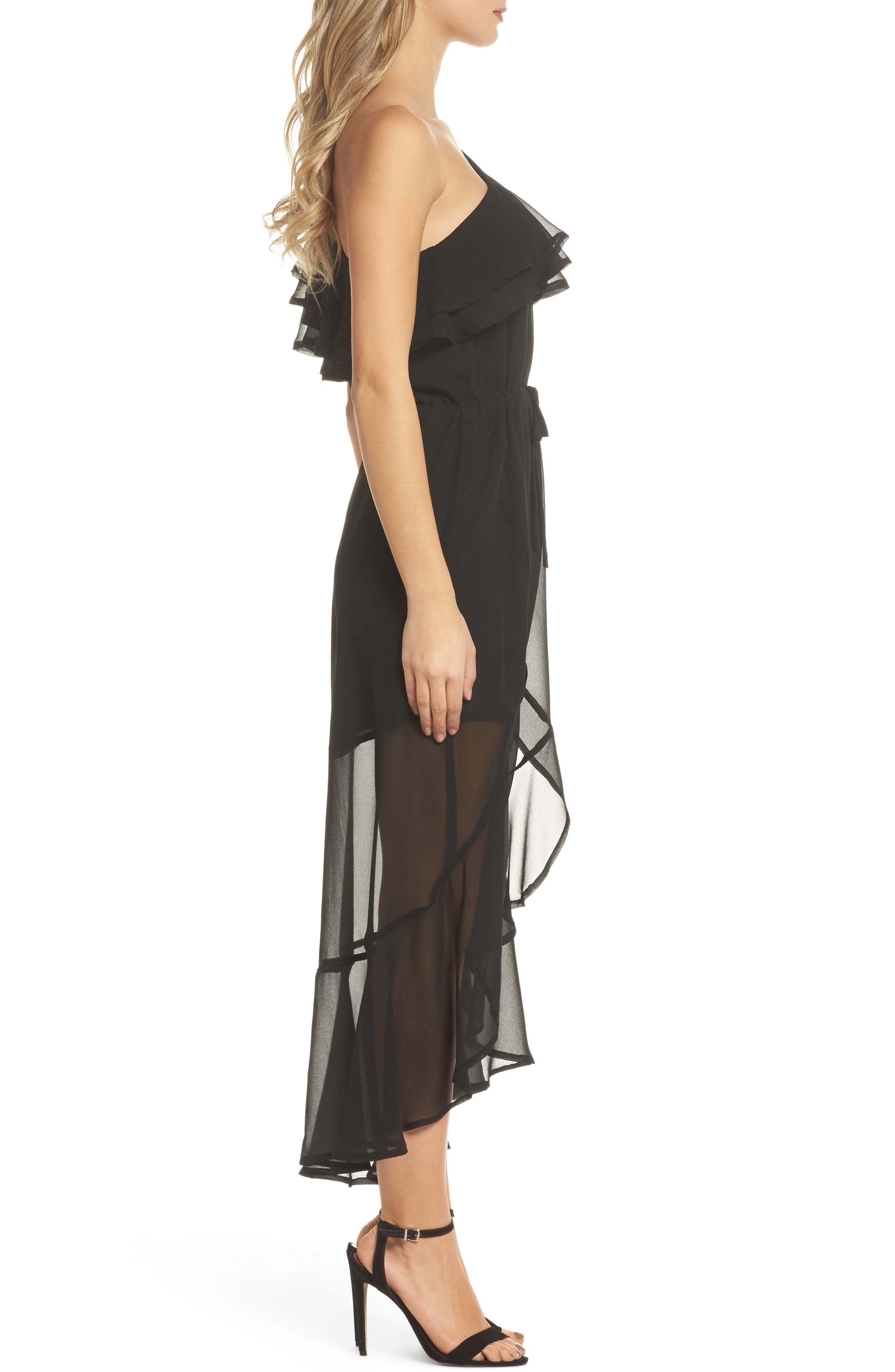 Kayla One-Shoulder Maxi Dress,                             Alternate thumbnail 3, color,                             Black