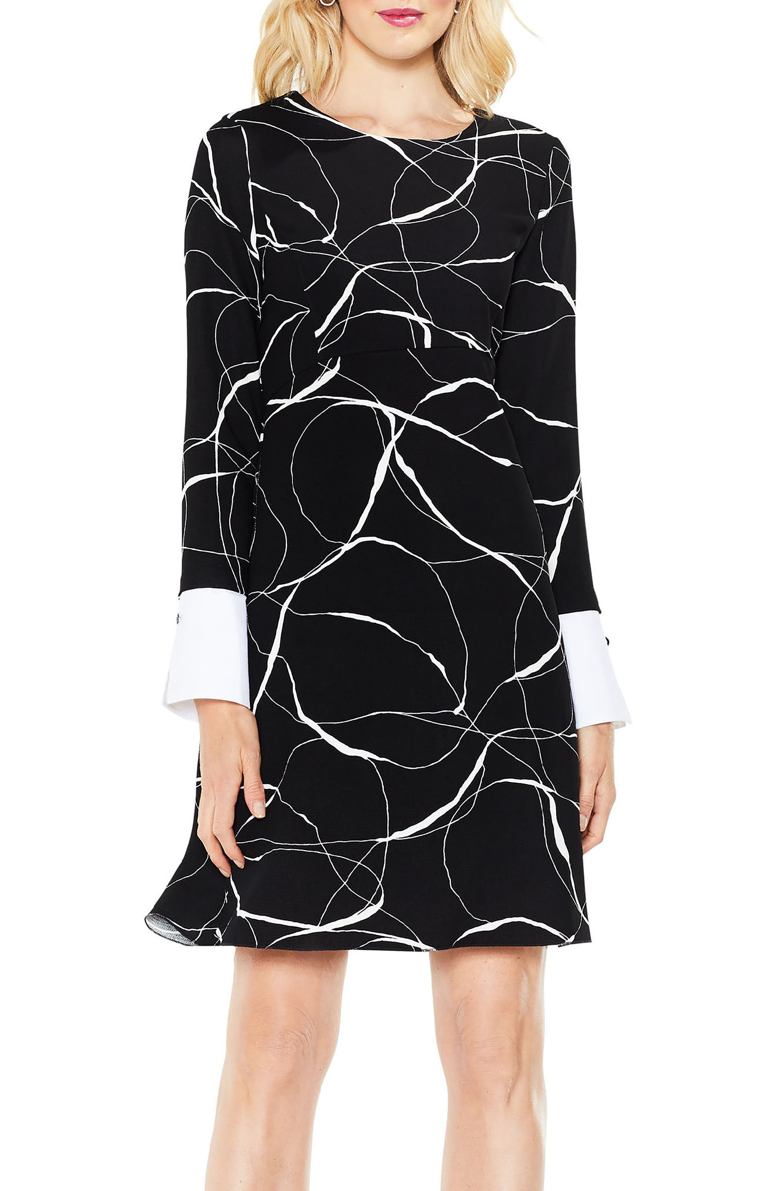 Ink Swirl Mix Media Fit & Flare Dress,                         Main,                         color, Rich Black