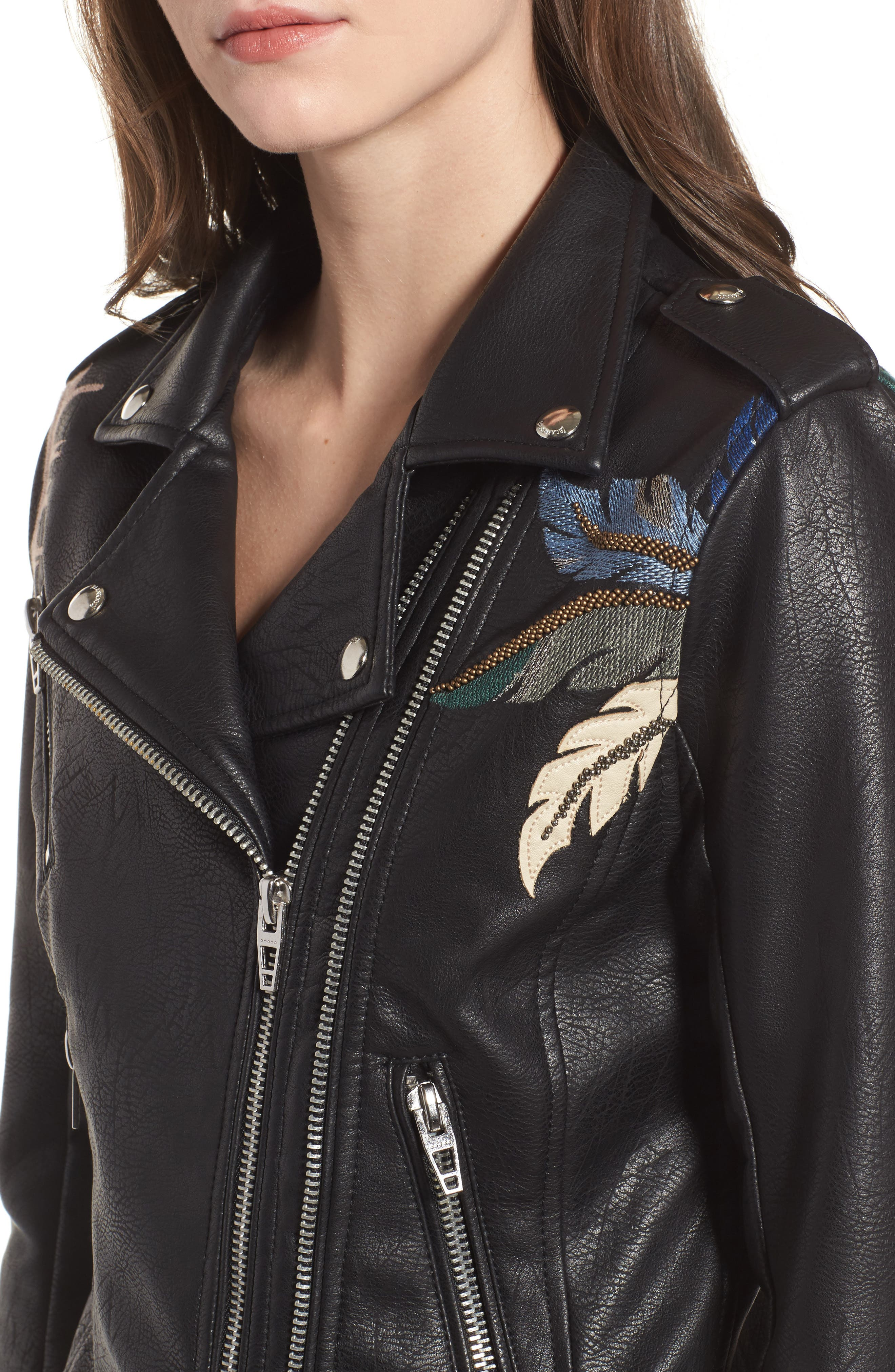 Embroidered Faux Leather Moto Jacket,                             Alternate thumbnail 4, color,                             Black