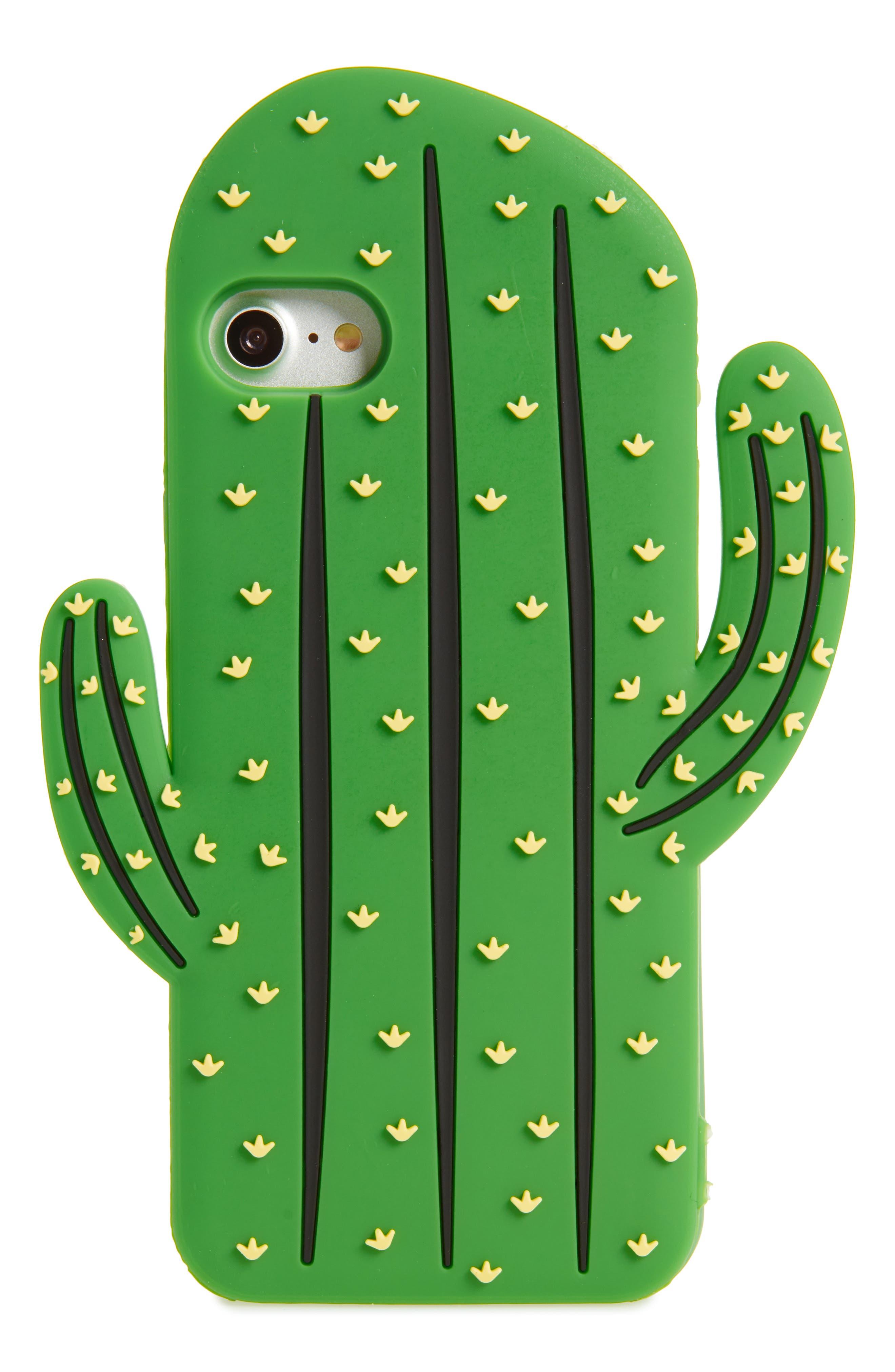 Oversize Soft Cactus iPhone 7/8 Case,                             Main thumbnail 1, color,                             Green Multi