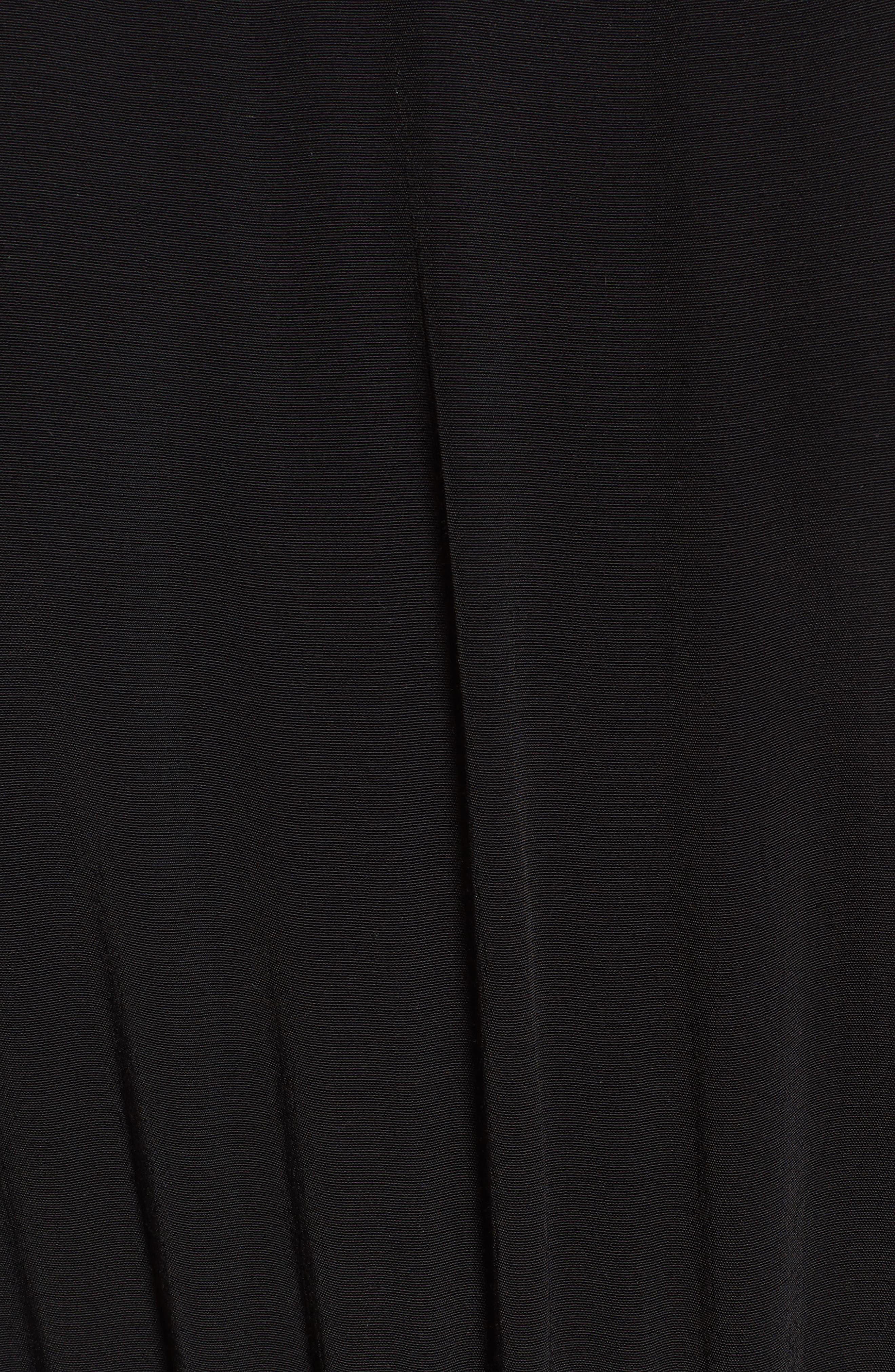 Embroidered Midi Dress,                             Alternate thumbnail 5, color,                             Black Combo