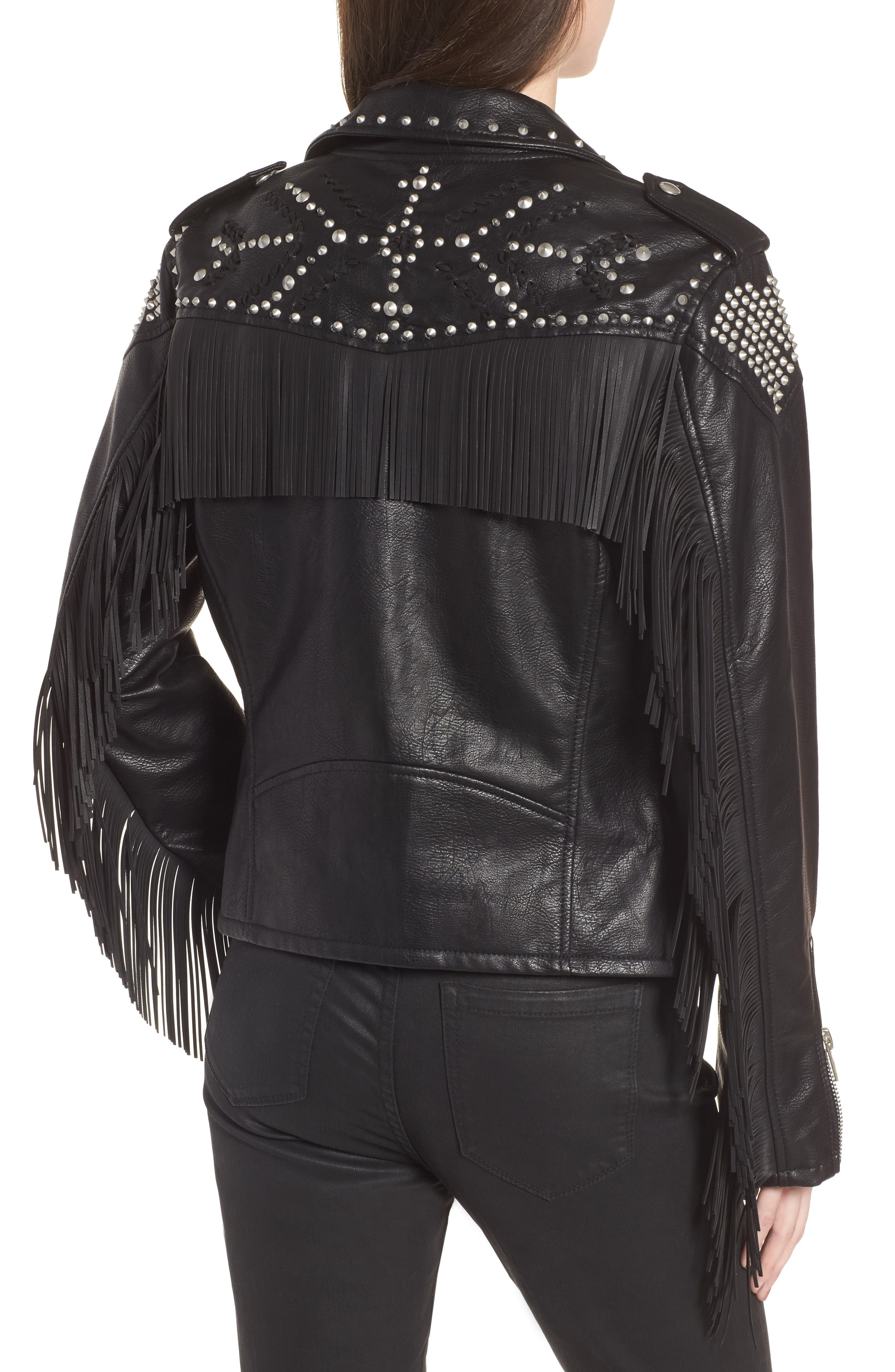 Studded Fringe Faux Leather Moto Jacket,                             Alternate thumbnail 3, color,                             On The Run