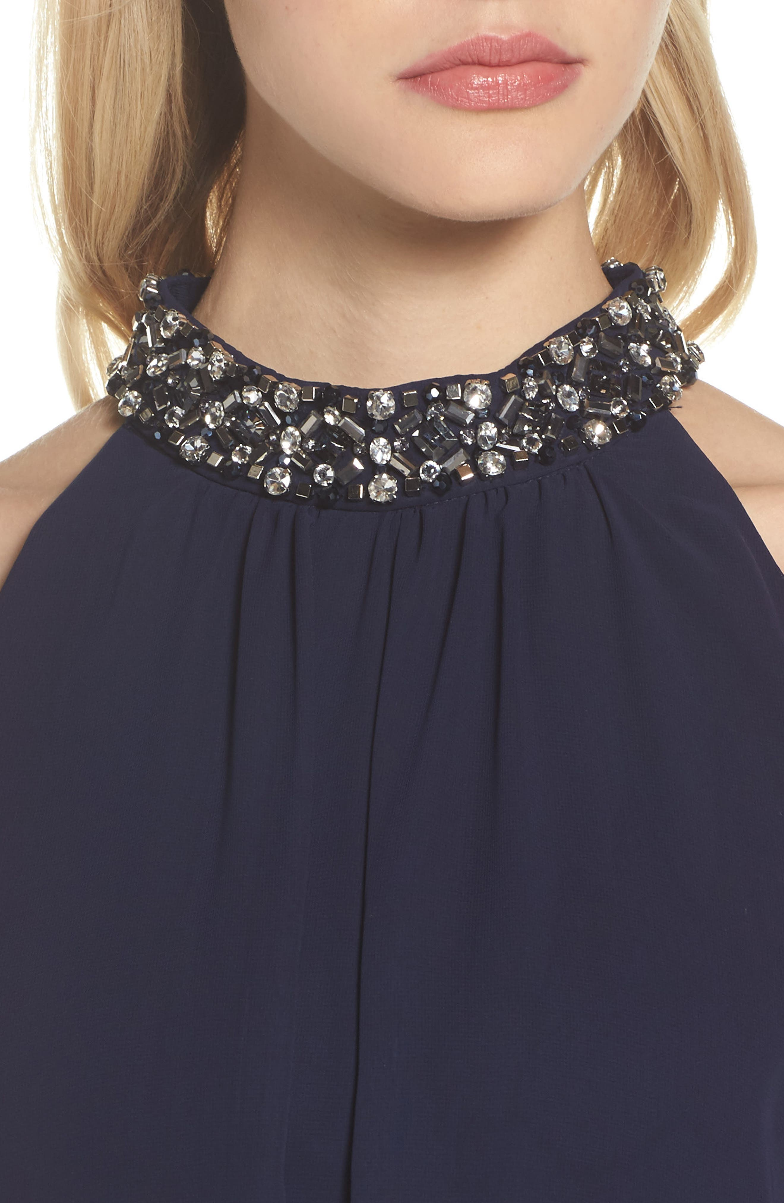 Beaded Collar Trapeze Dress,                             Alternate thumbnail 4, color,                             Navy