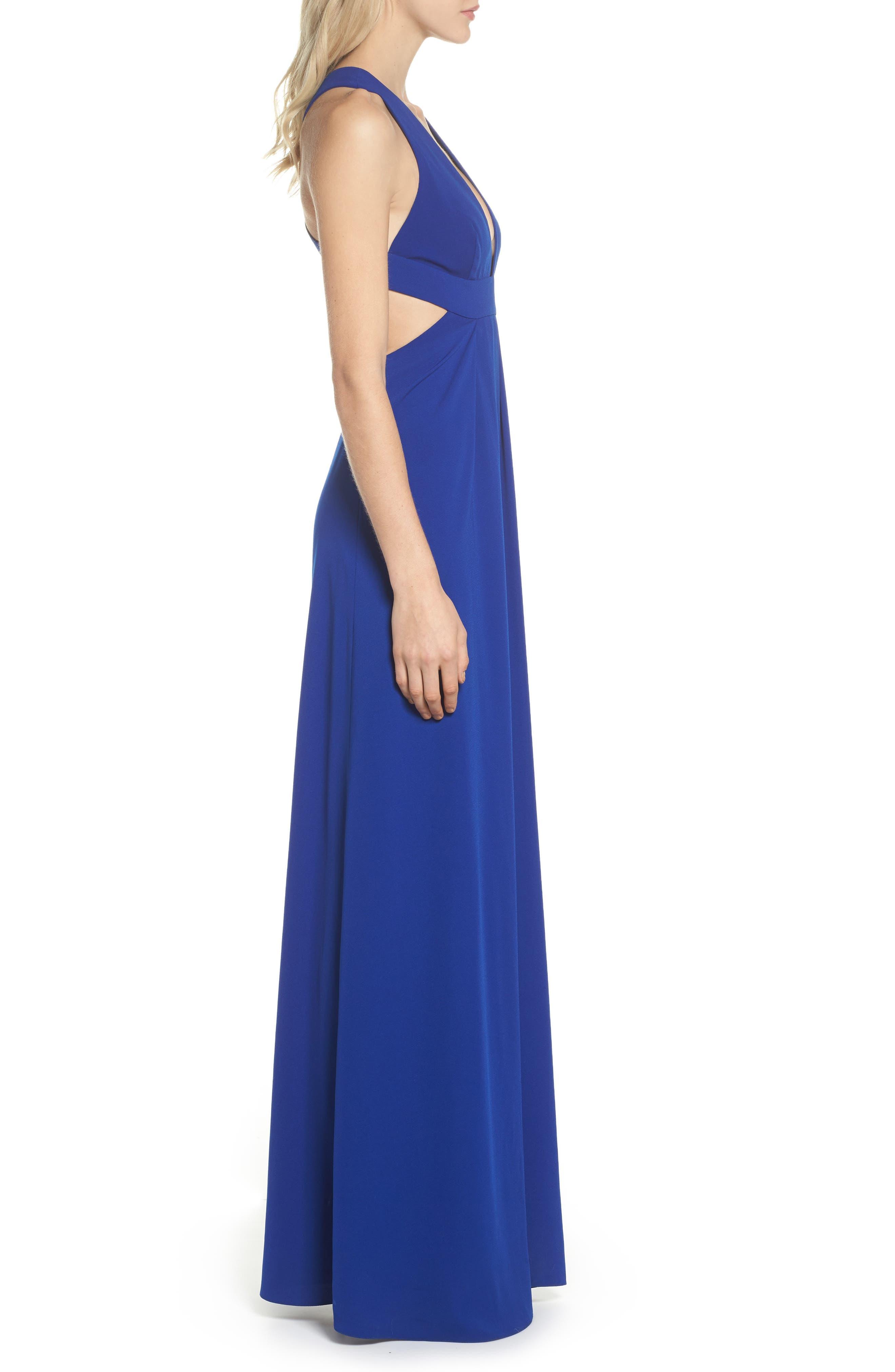 Cutout Crepe Gown,                             Alternate thumbnail 3, color,                             China Blue