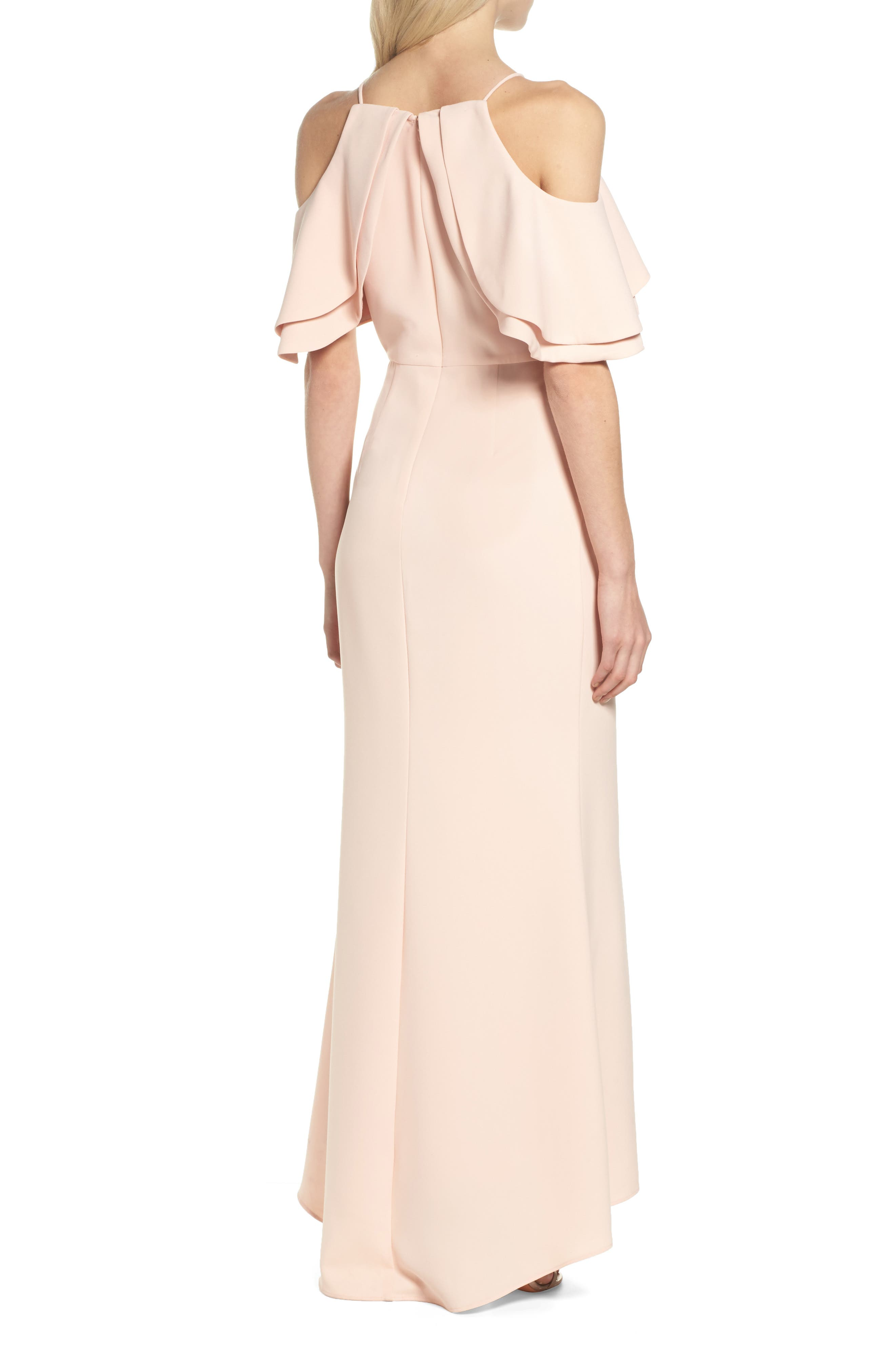 Ruffle Bodice Cold Shoulder Gown,                             Alternate thumbnail 2, color,                             Blush