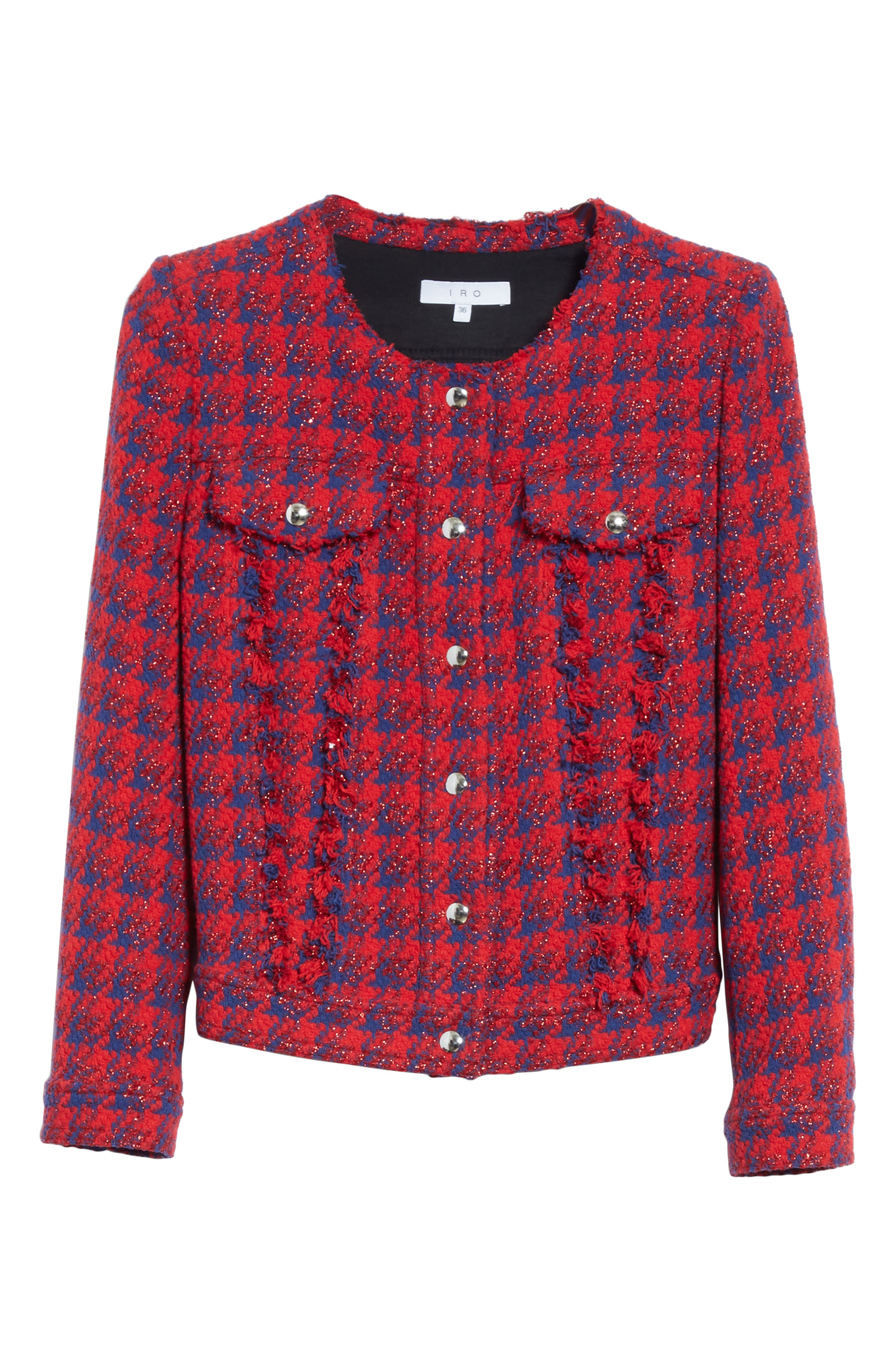Quilombre Houndstooth Tweed Jacket,                             Alternate thumbnail 6, color,                             Red/ Blue
