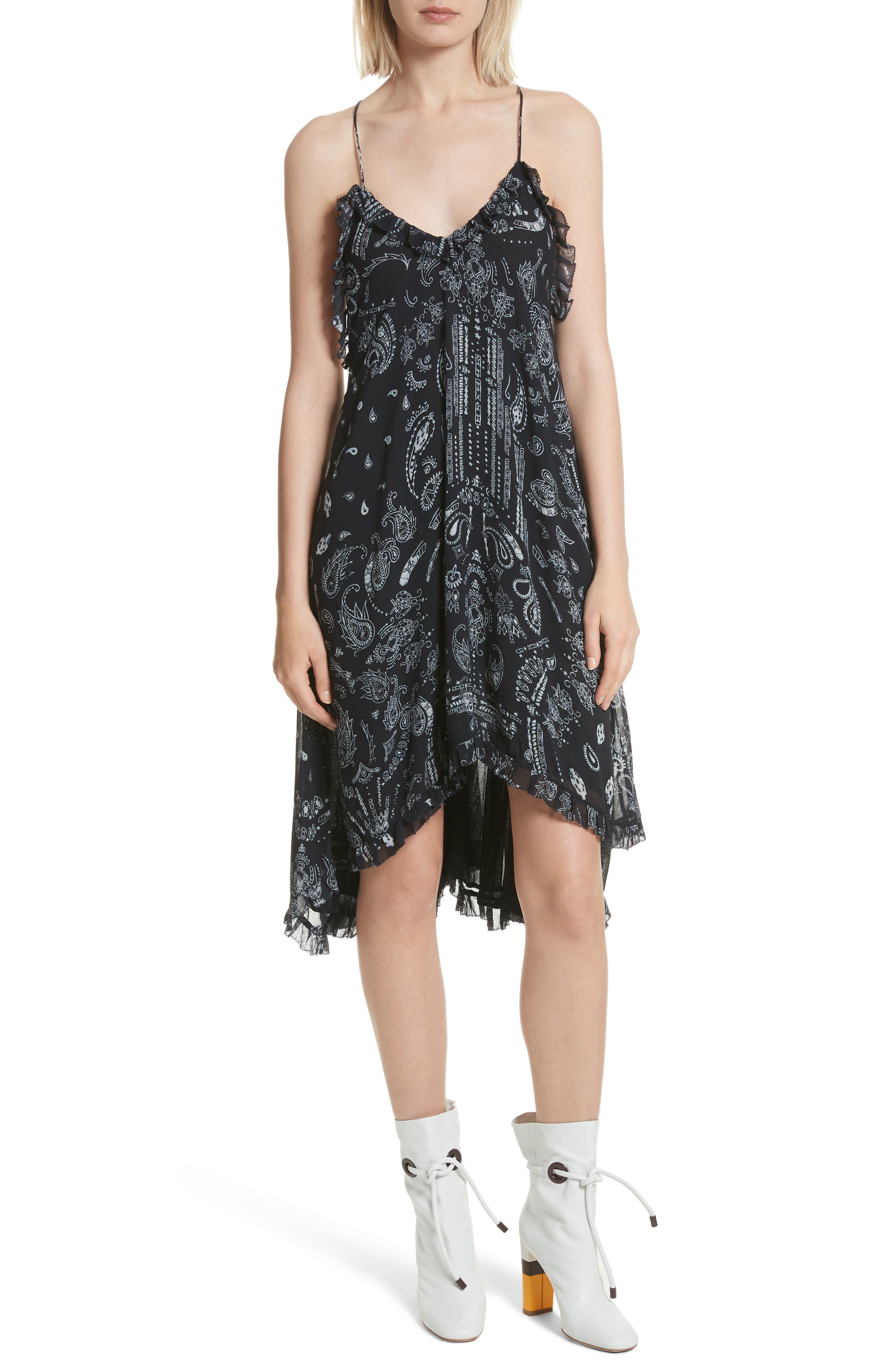 Bagda Bandana Print Ruffle Trim Dress,                             Main thumbnail 1, color,                             Black