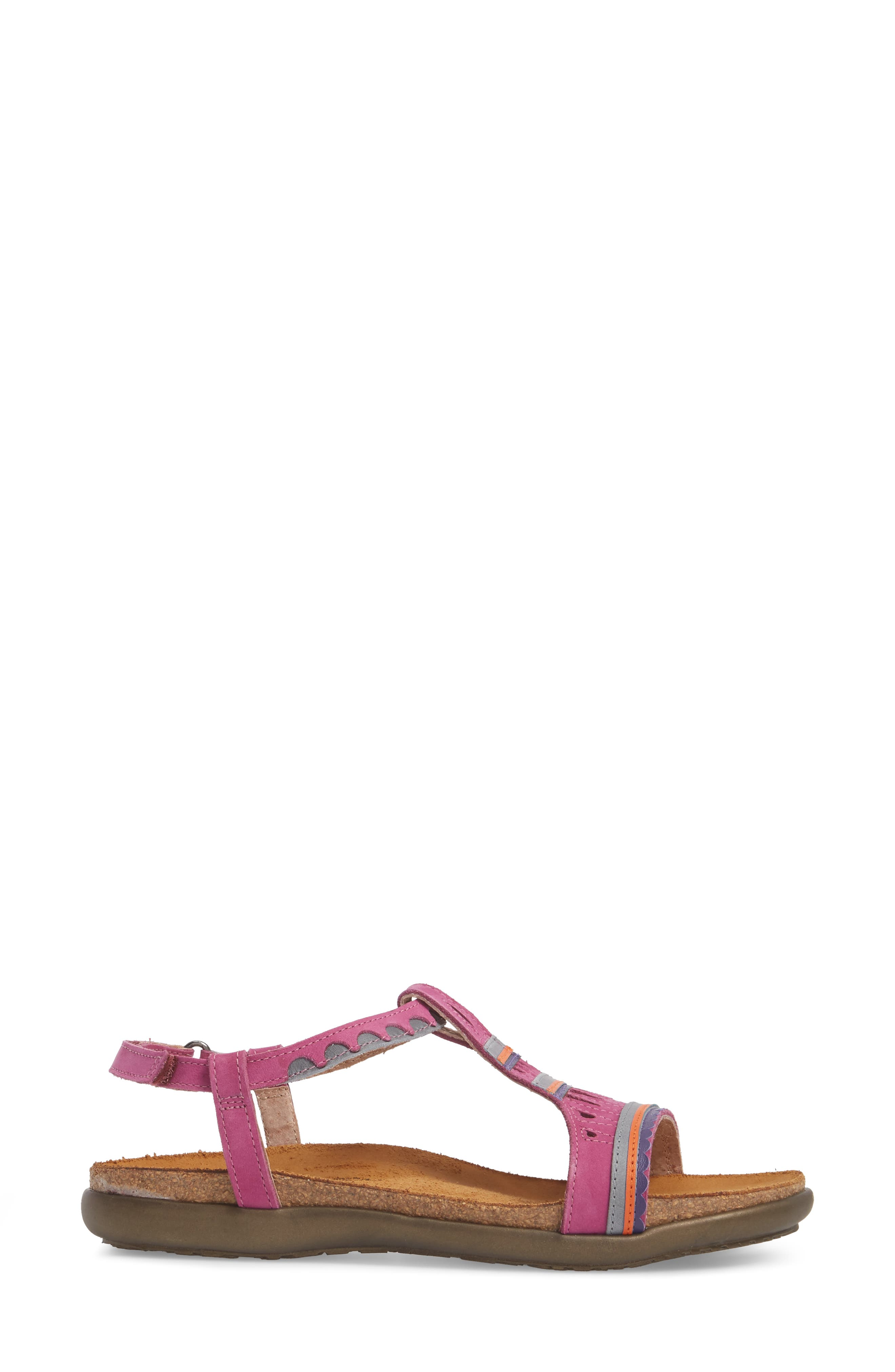 Odelia Perforated T-Strap Sandal,                             Alternate thumbnail 3, color,                             Pink Plum Nubuck